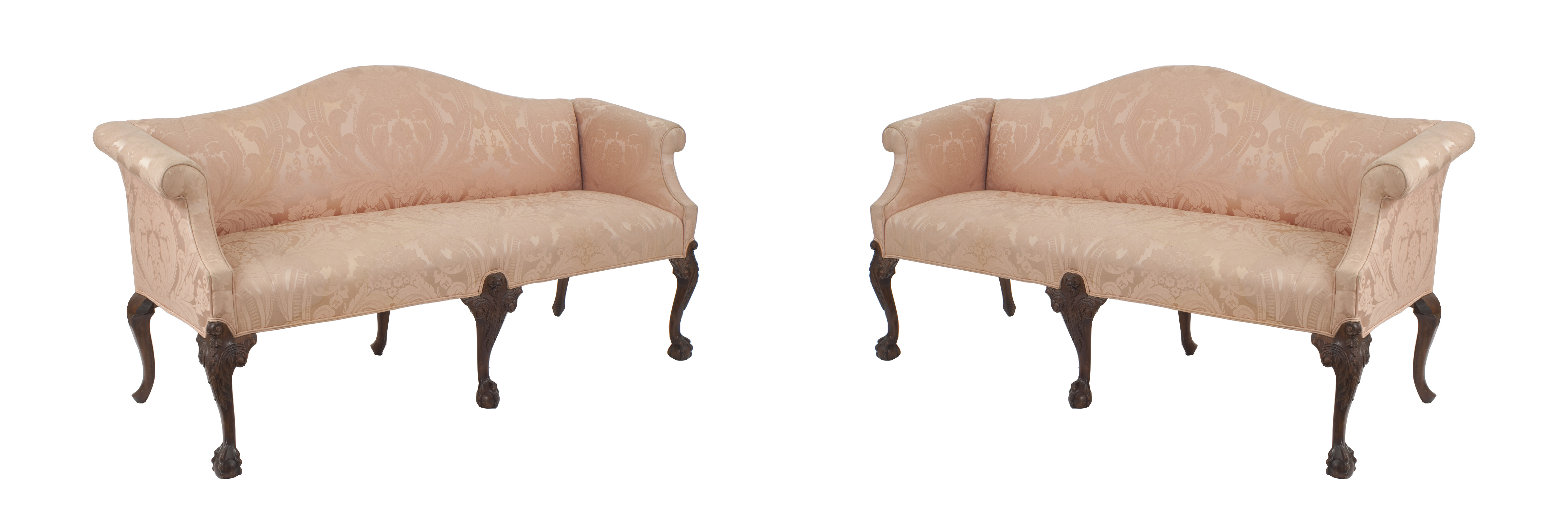 Outstanding English Chippendale Pink Upholstery Settees Newel Machost Co Dining Chair Design Ideas Machostcouk