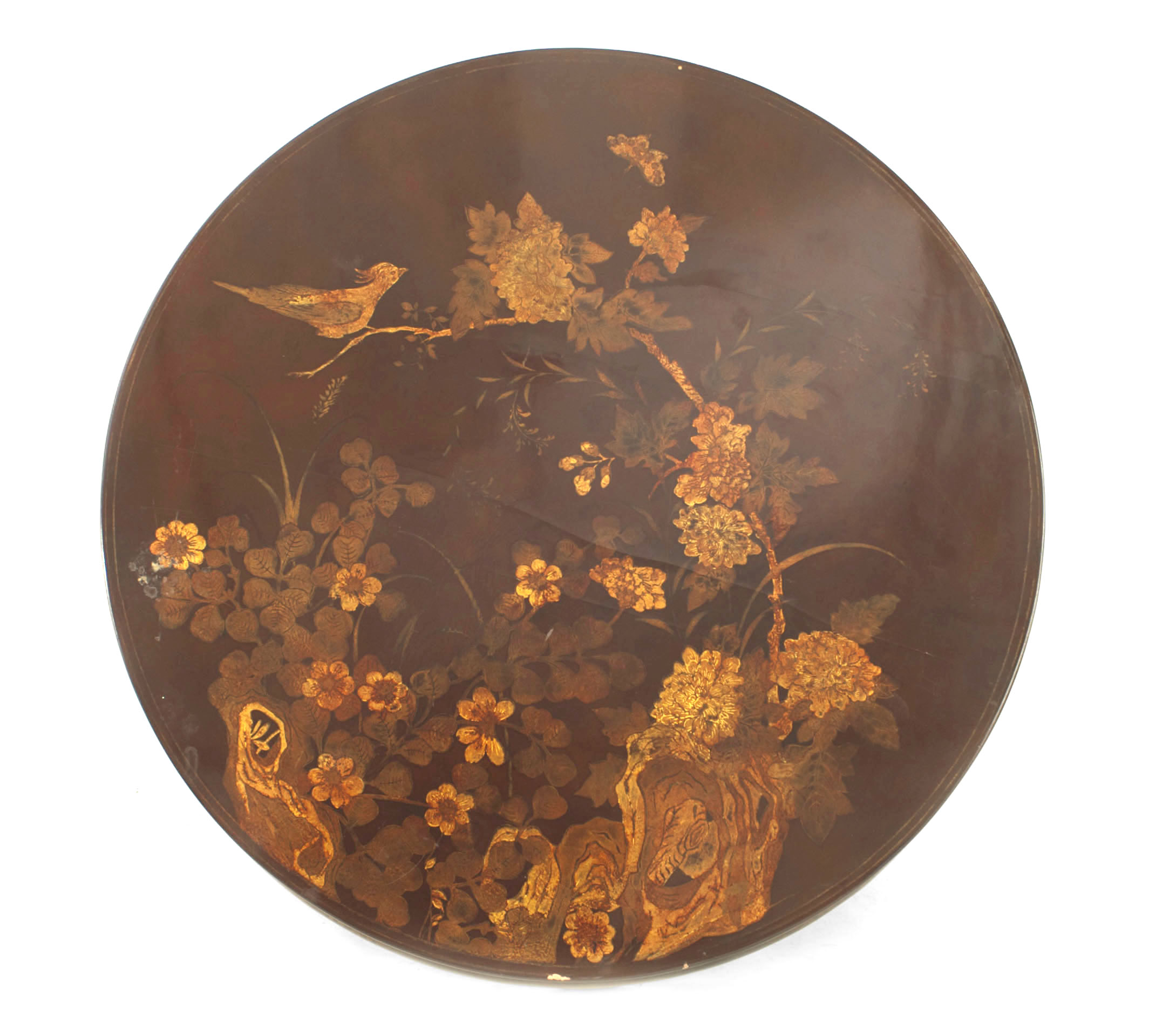 English Queen Anne Style Round Chinoiserie Rust Lacquer Floral Design  Coffee Table (20th Cent) English Queen Anne Style Round Chinoiserie Rust  Lacquer ...