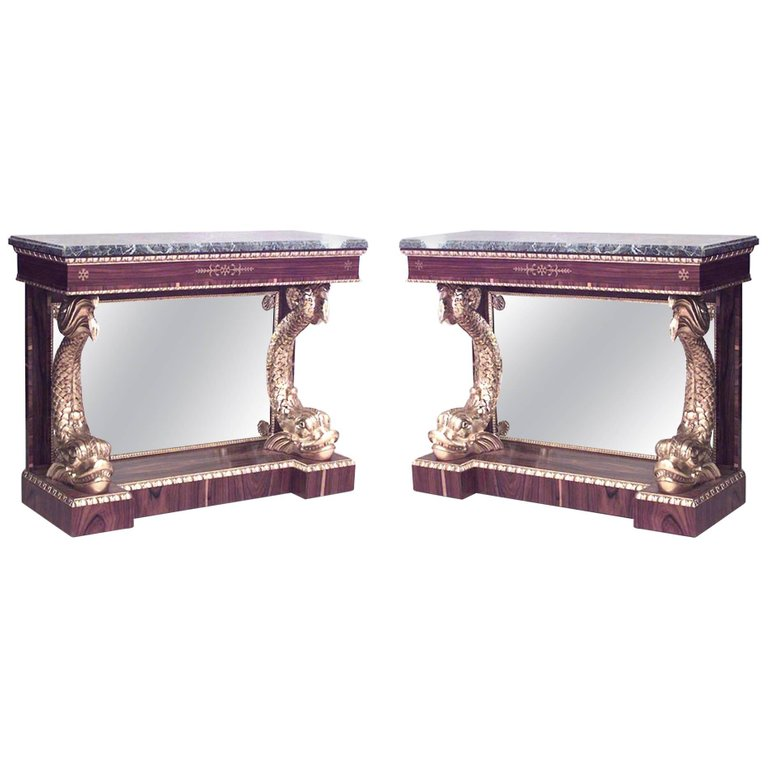 English regency rosewood gilt dolphin console table | NEWEL