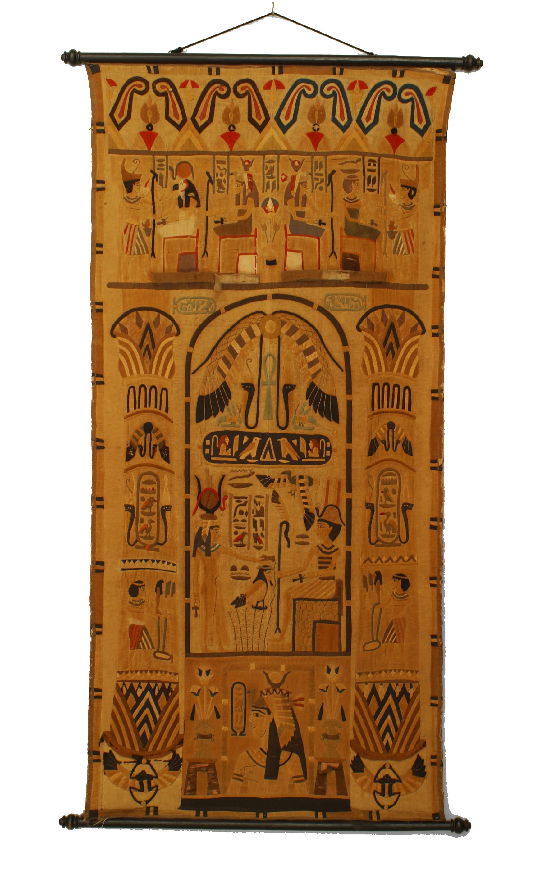 Middle Eastern Egyptian Style 19th Cent Vertical Embroidered Wall