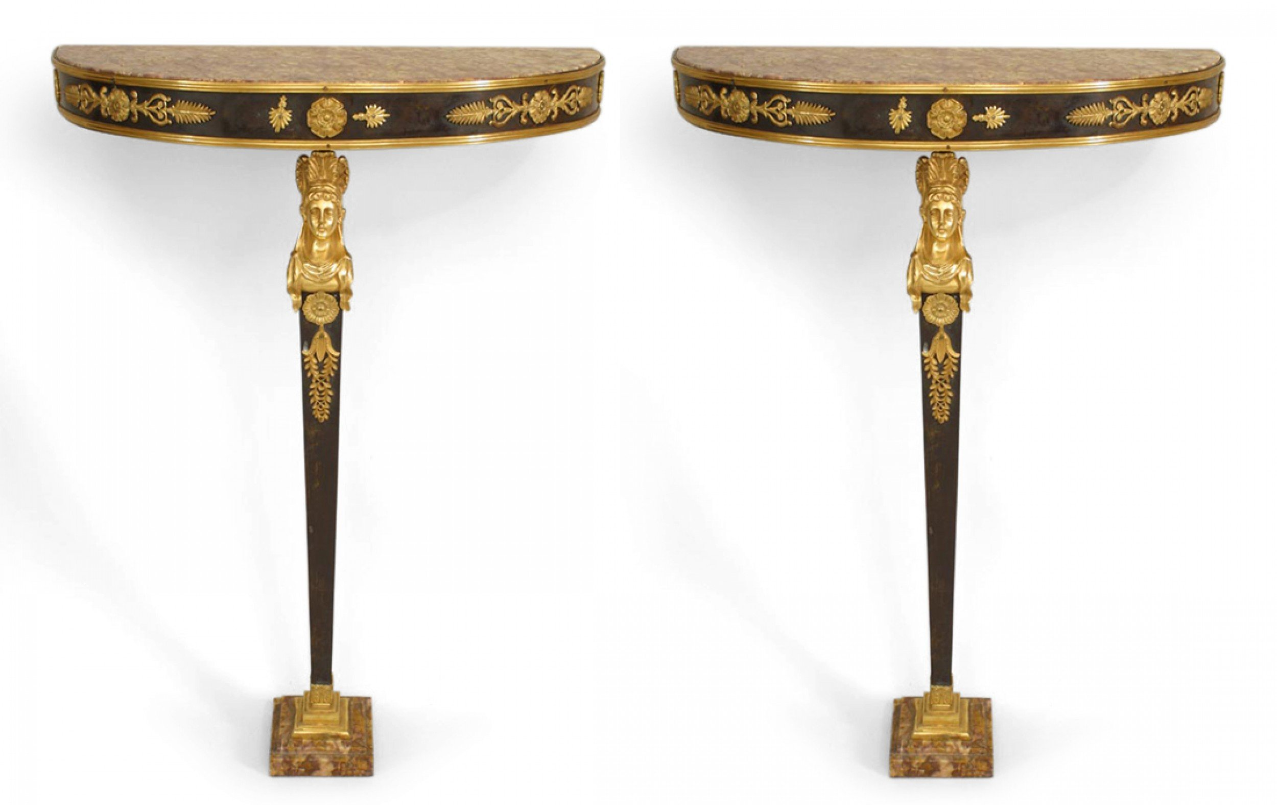 French Empire Bronze Dore And Marble Console Table