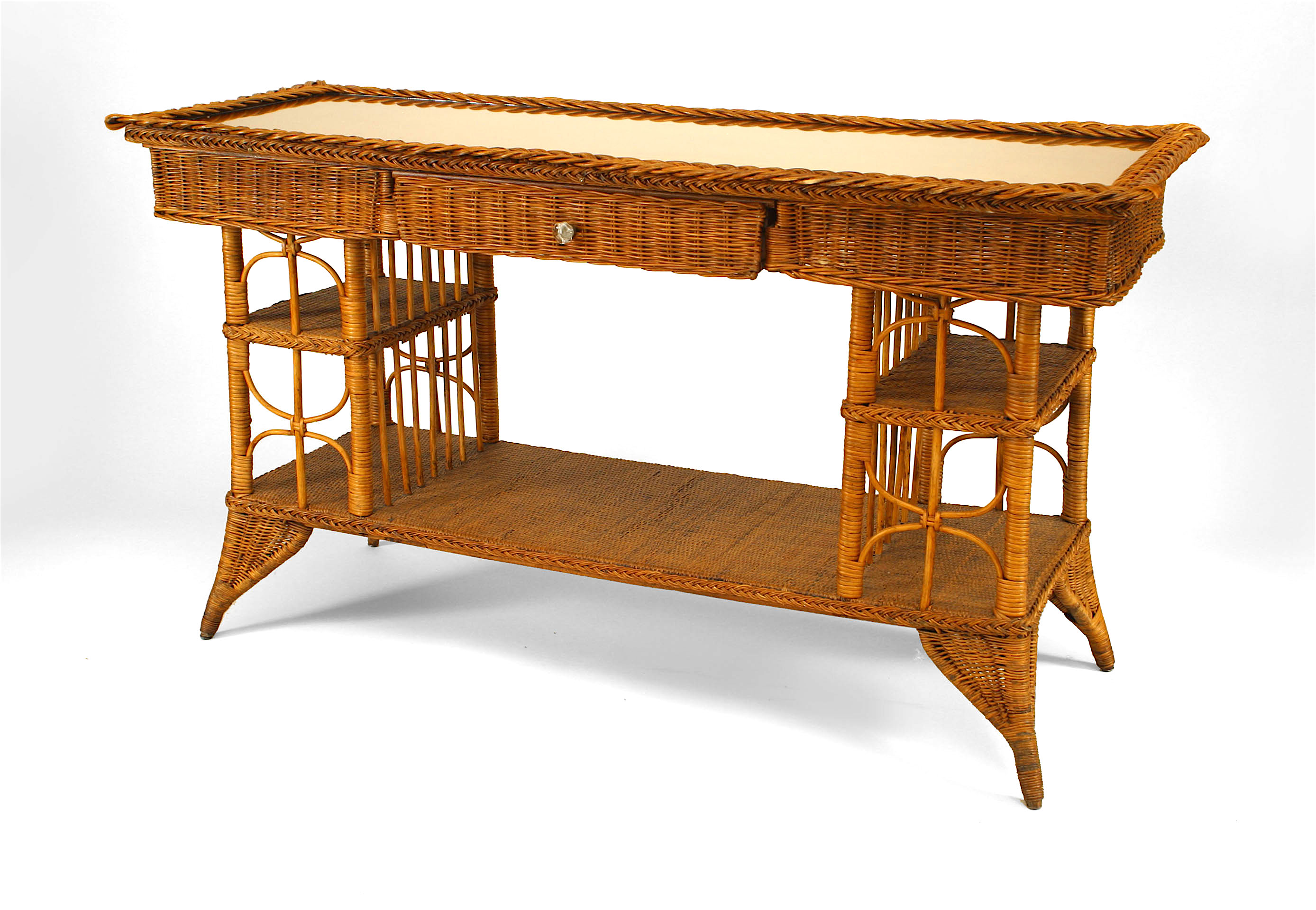Fine American Victorian Wicker Davenport Table Newel Customarchery Wood Chair Design Ideas Customarcherynet