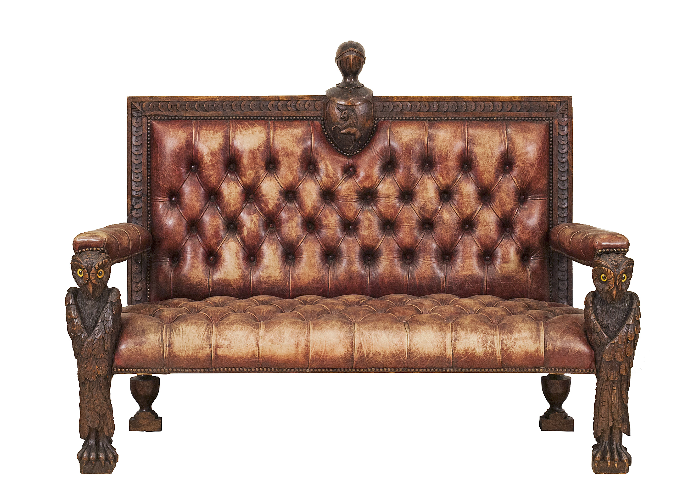 Phenomenal Rustic Continental Walnut And Leather Loveseat 1 Newel Andrewgaddart Wooden Chair Designs For Living Room Andrewgaddartcom