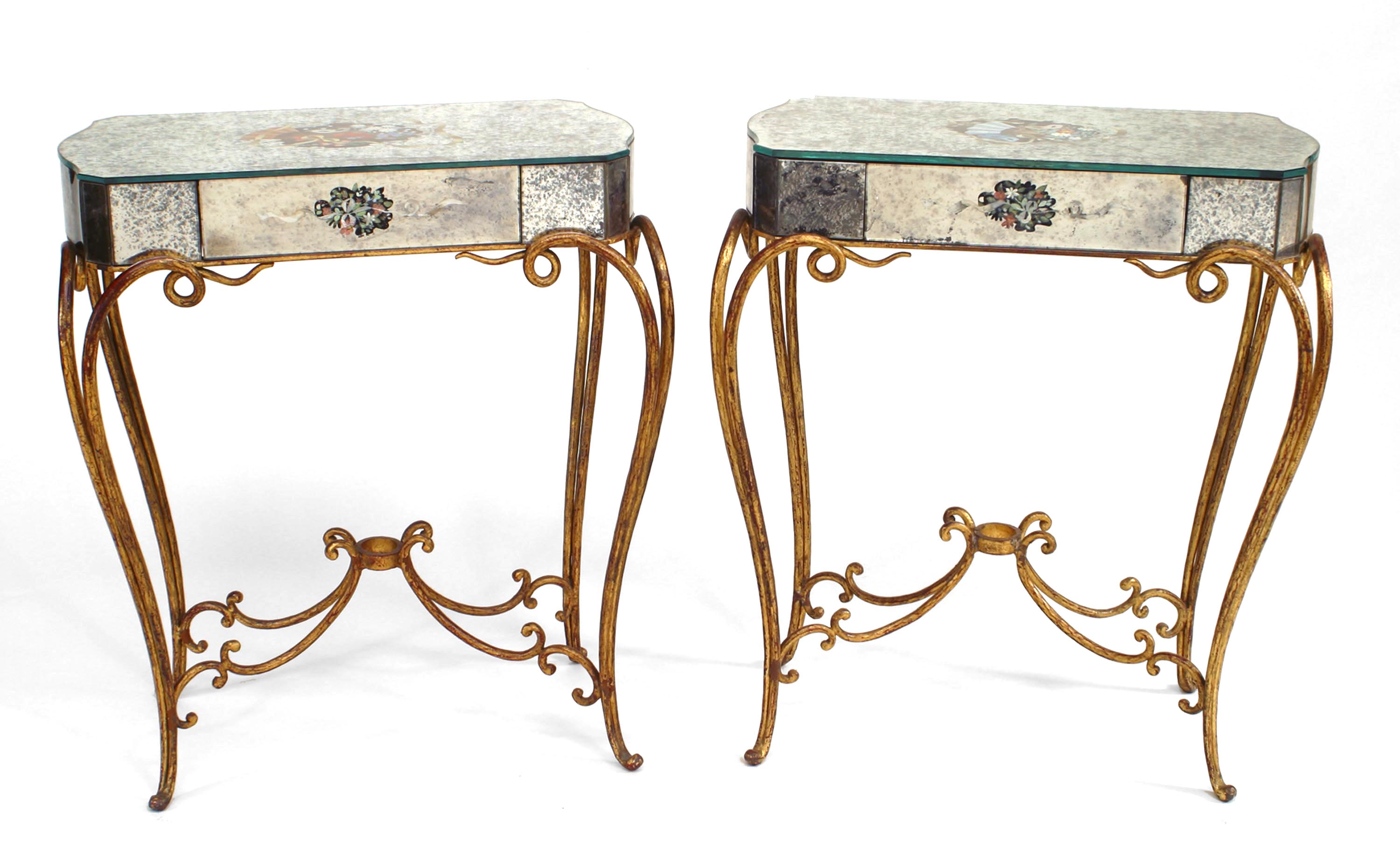 French Rectangular Mirrored End Tables Newel
