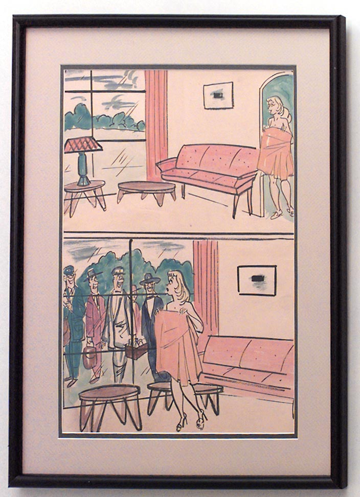 American Art Moderne black framed caricature watercolor of naked ...