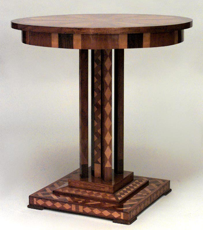 ... And Geometric Inlaid End Table With Round Top Supported On 4 Square  Columns U0026 Octagonal Center Post Pedestal Above A Square Base 059129  Biedermeier ...