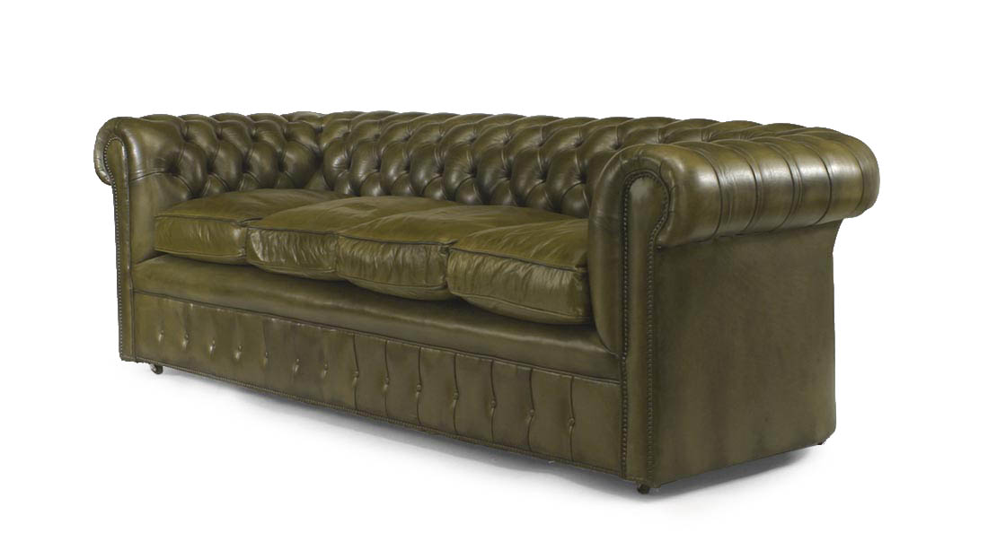English Victorian Green Leather Sofas