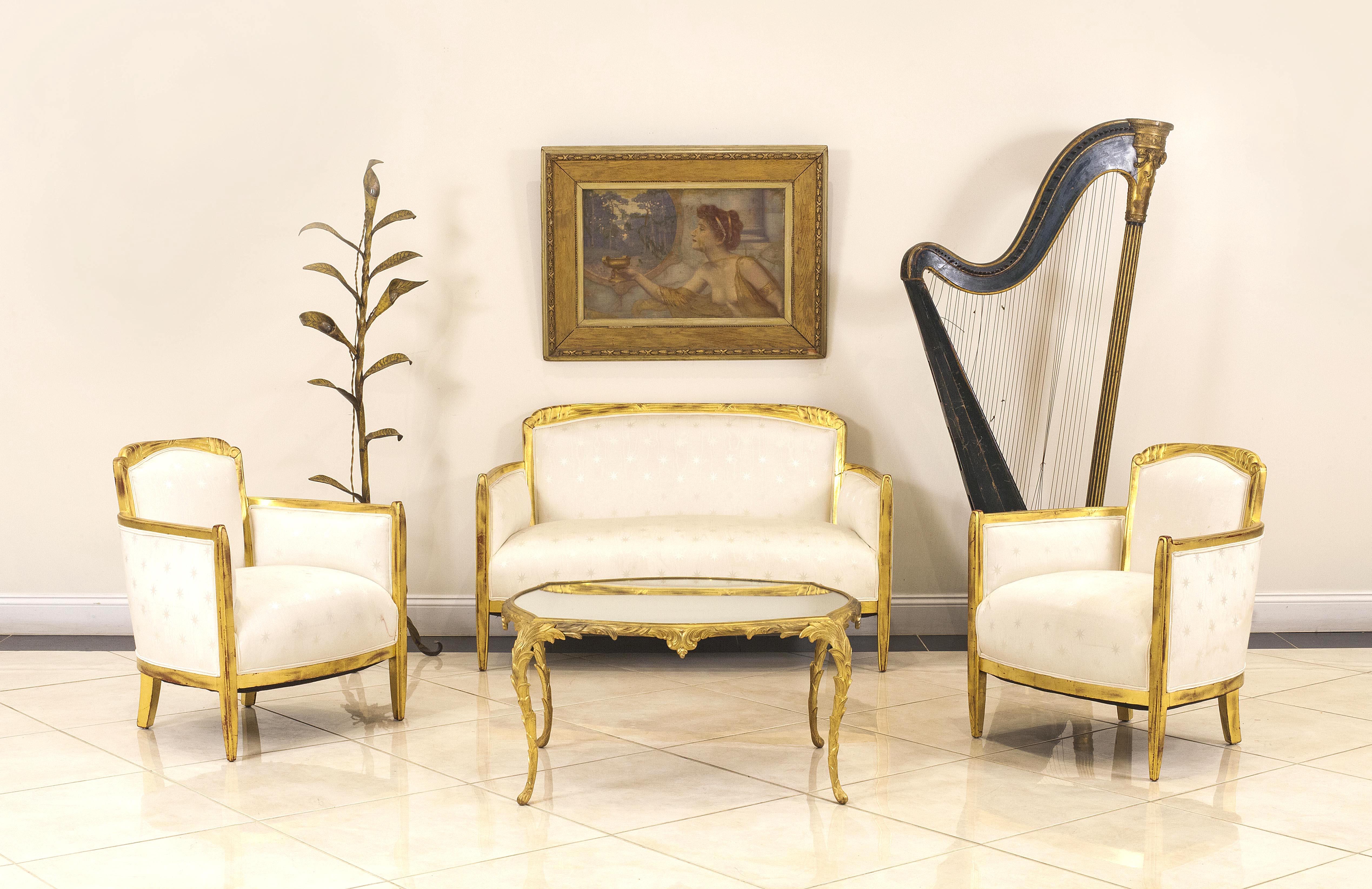 French art deco white star living room set | NEWEL
