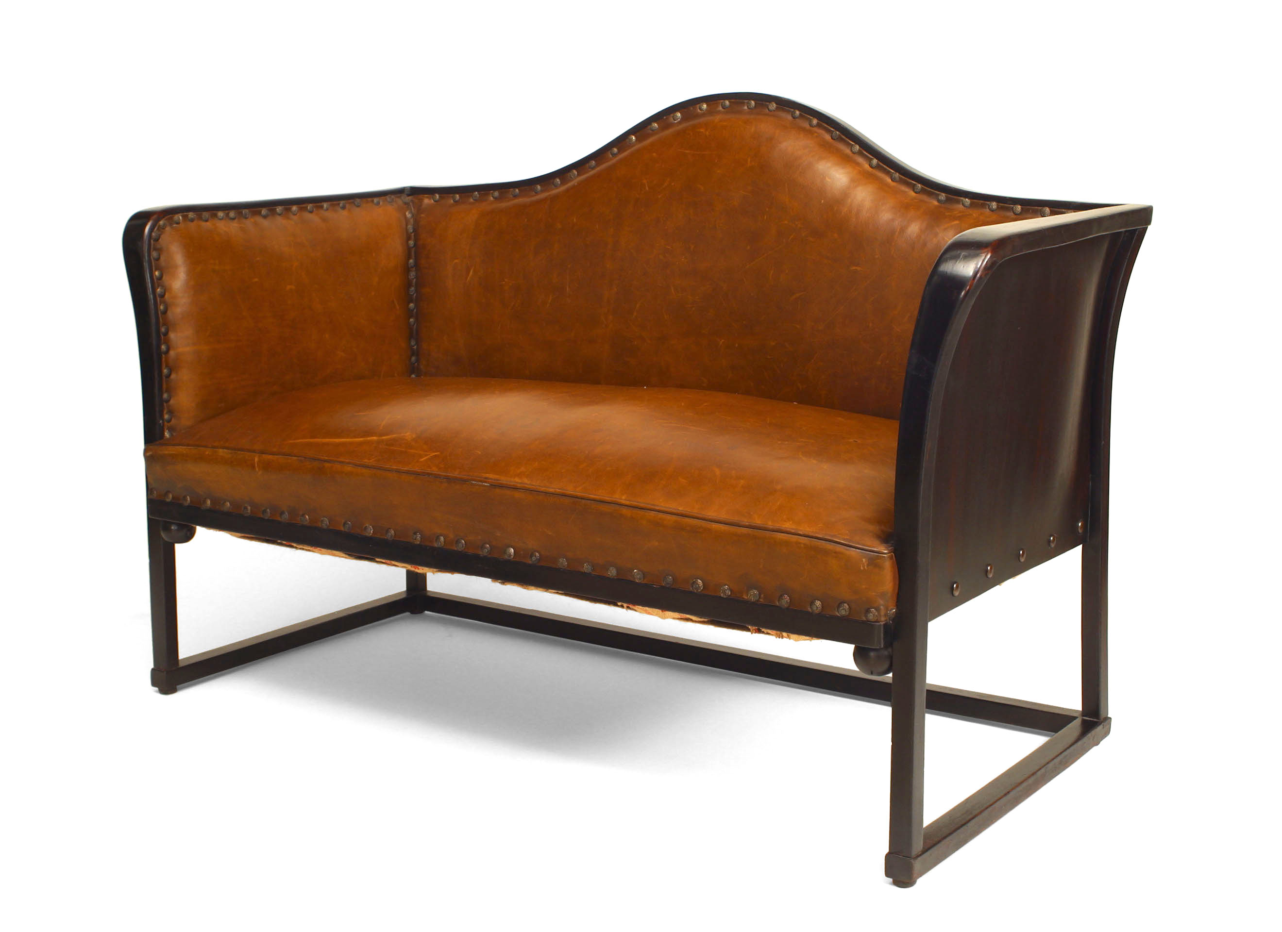 Strange Bentwood Secessionist Leather Loveseat Newel Onthecornerstone Fun Painted Chair Ideas Images Onthecornerstoneorg