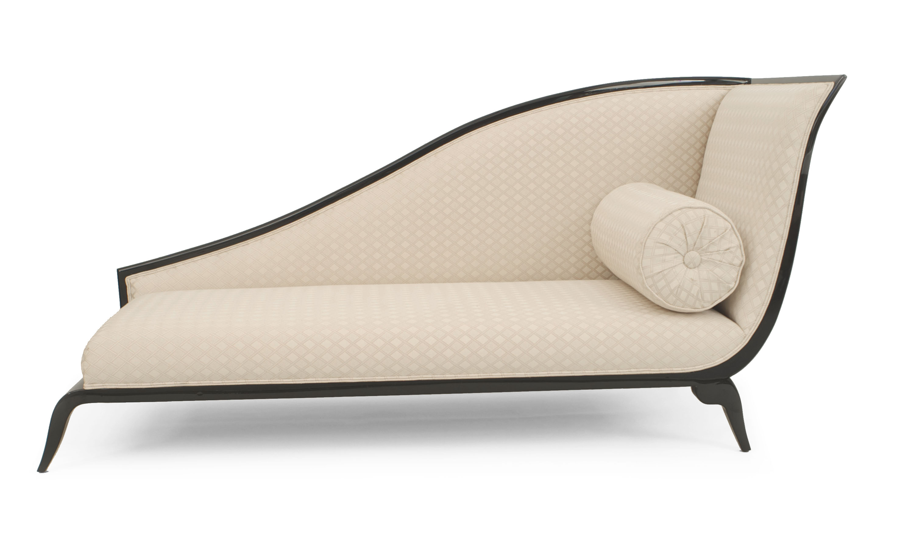 french art deco style black lacquered sleigh back recamier with beige upholstery and - Chaise Deco