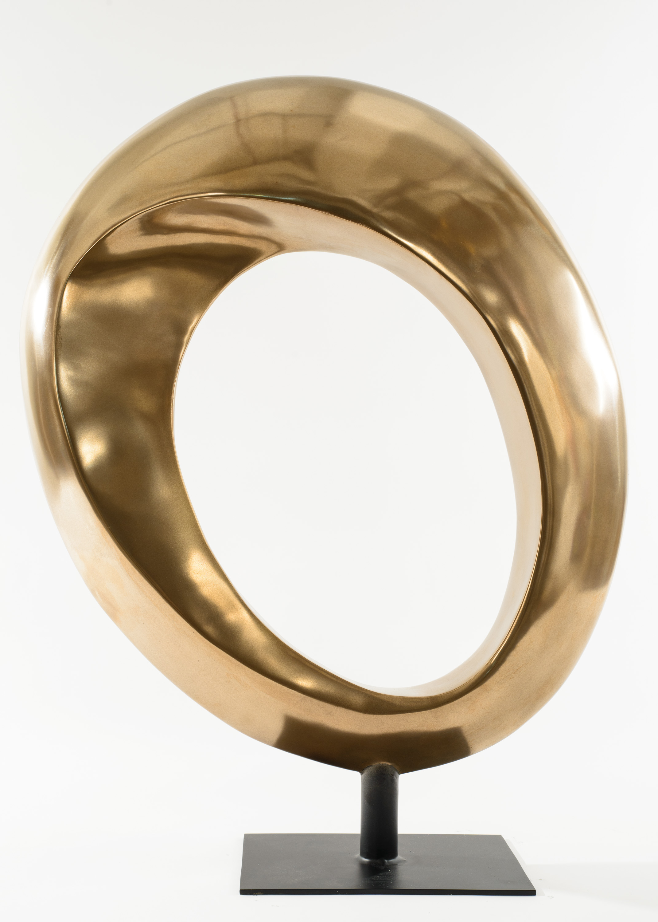 Contemporary Resin Sculpture Of A Stylized Hoop With A Bronze Finish  Supported On A.