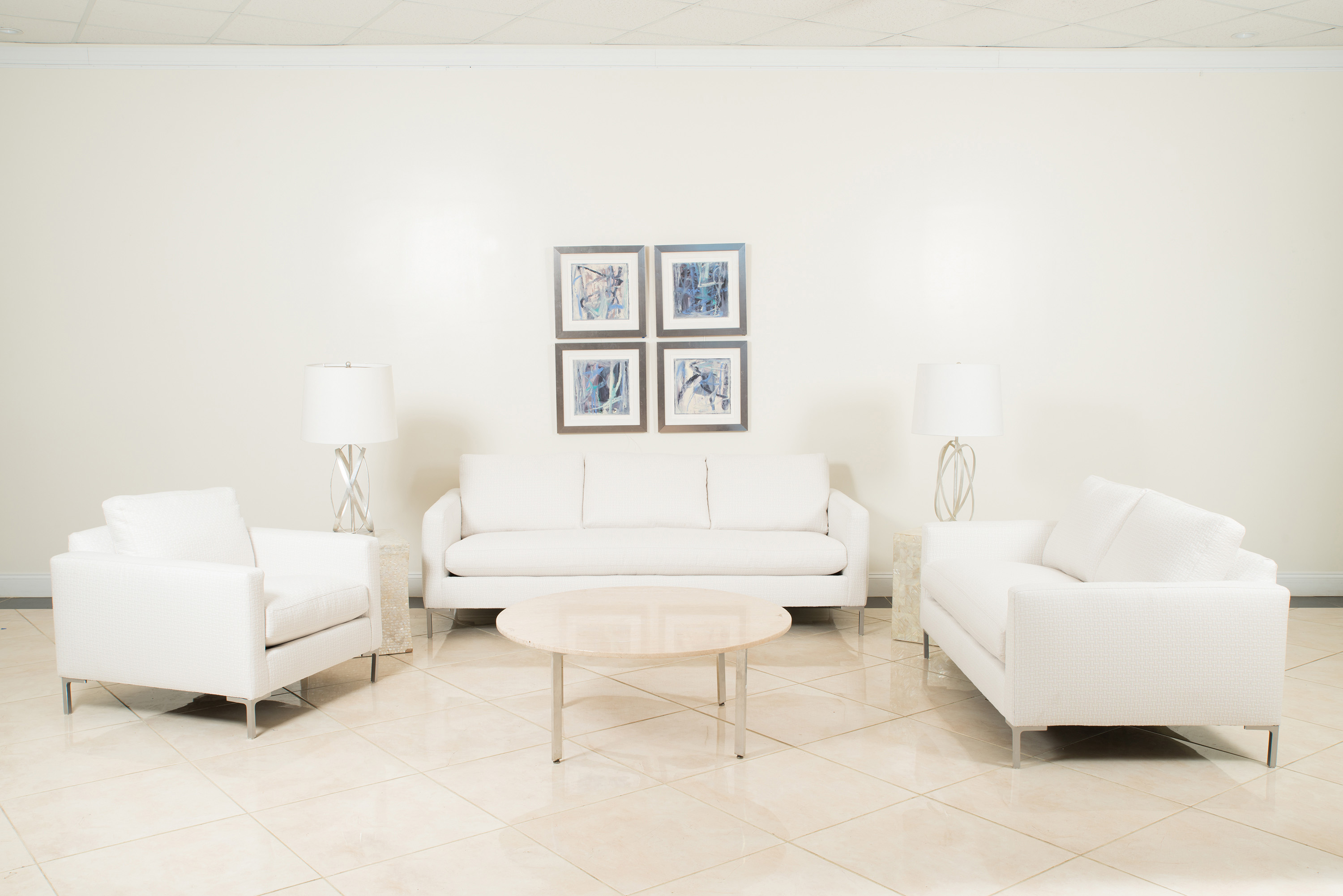 4 piece Contemporary-style white upholstered living room set with ...