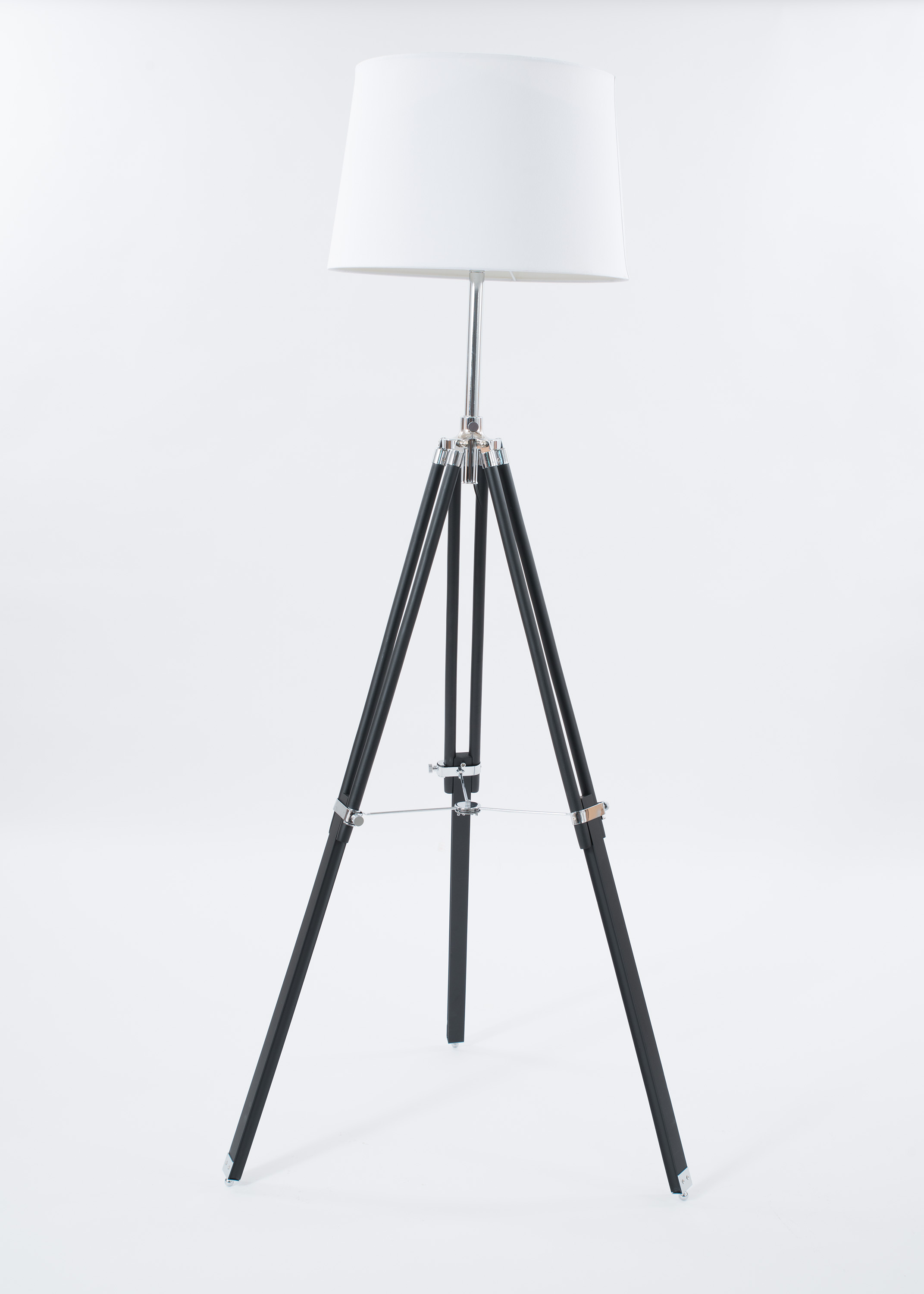 Products newel props contemporary black painted wood and chrome tripod floor lamp with an off white aloadofball Gallery