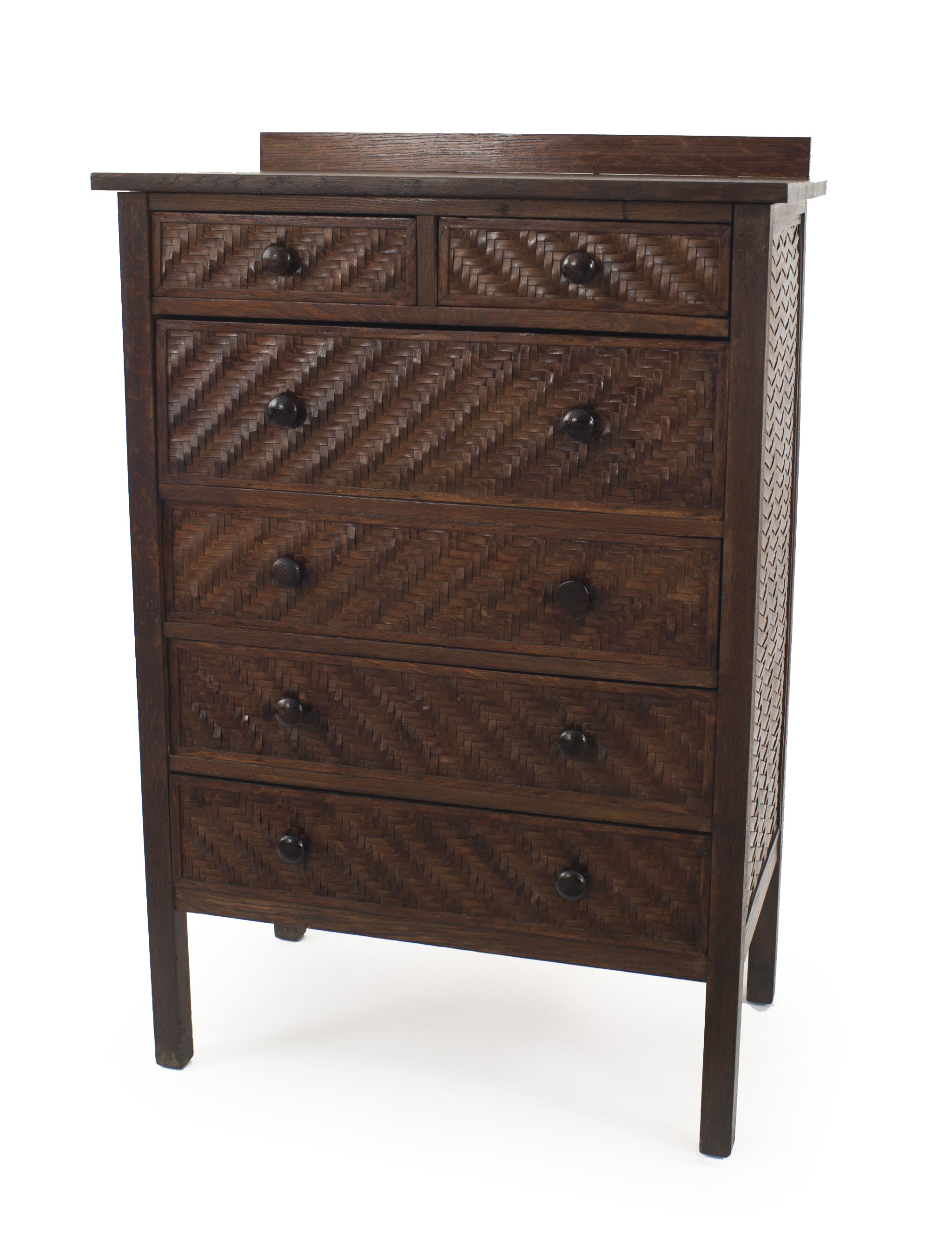About Us American Rustic Mission Dark Stained Oak Chest With 2 Drawers Over 4 Large Drawers Having Splint Wood Woven Sides Trim Indian Splint Mfg