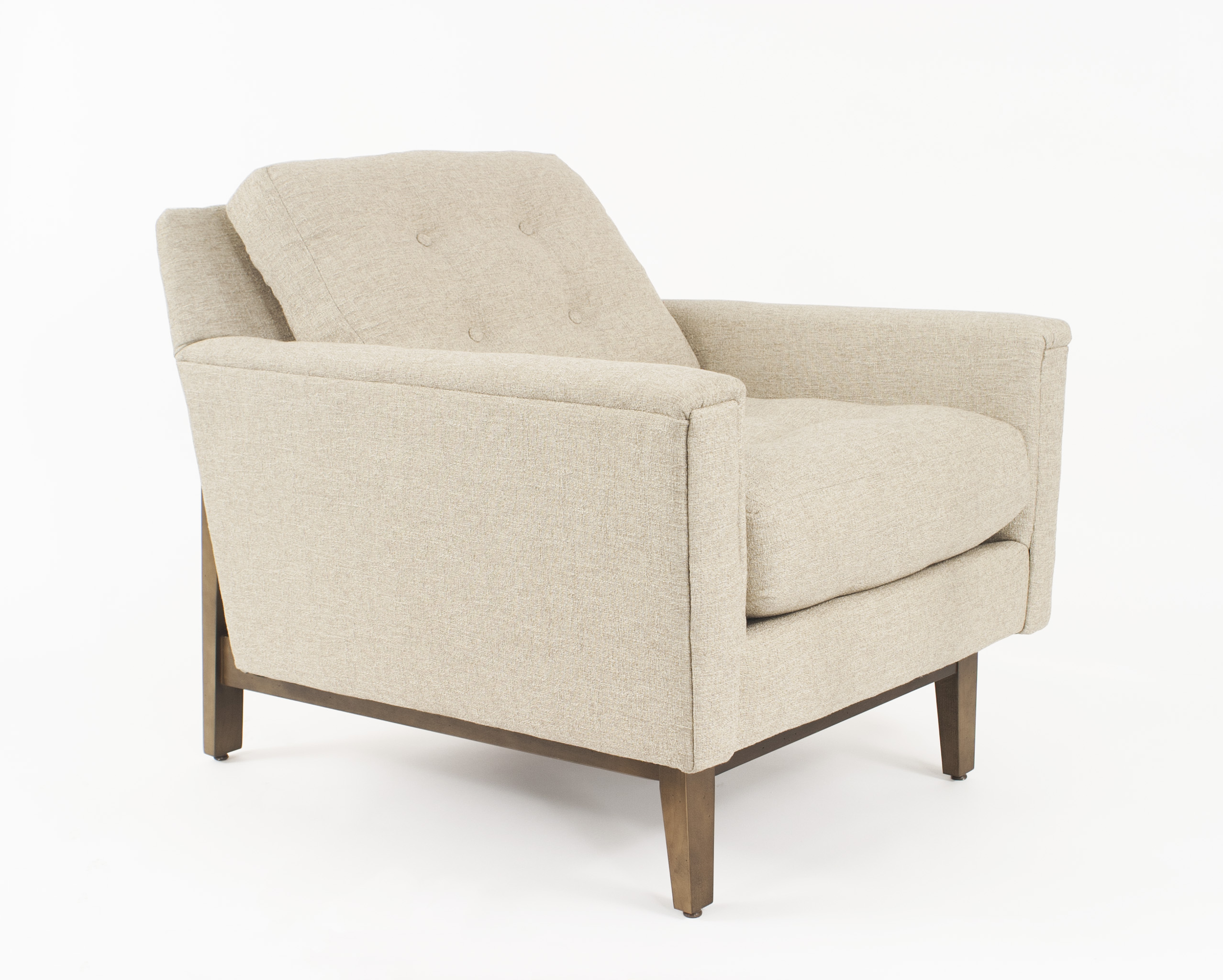 2 Contemporary Arm Chairs With A Wooden Frames, Square Tapered Legs, And  Textured Beige Upholstery With Button Tufted Backs (2   PRICED EACH)  (Matching ...