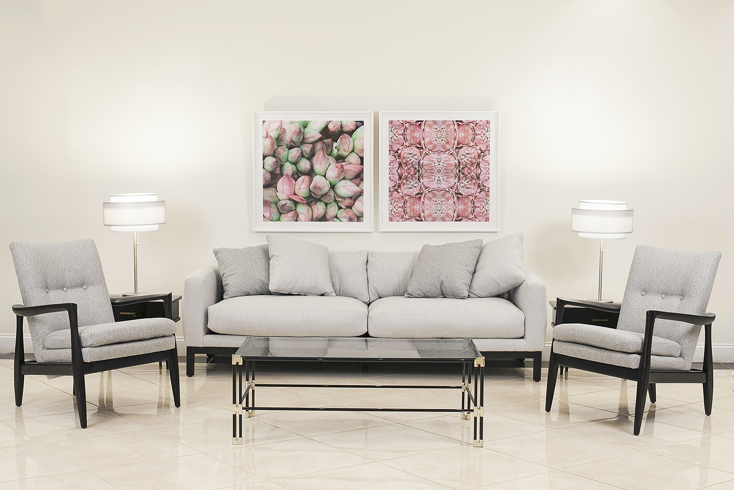 3 Piece Contemporary living room set of one 3-seat couch & 2 ...