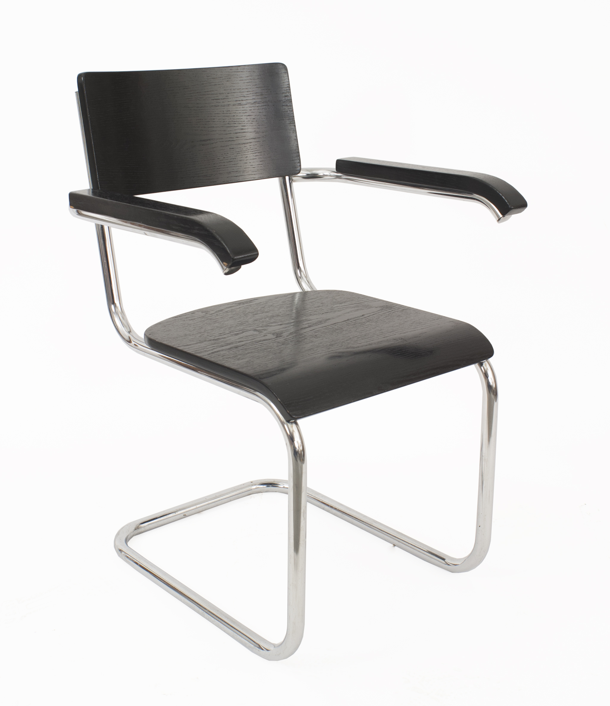 german office chairs. Wood Arm Chair With Chrome Trim Having A Shaped Back And Cane Seat (design Att: MARCEL BREUER; Mfg By THONET) (matching Desk: 061133) 061133A Art German Office Chairs