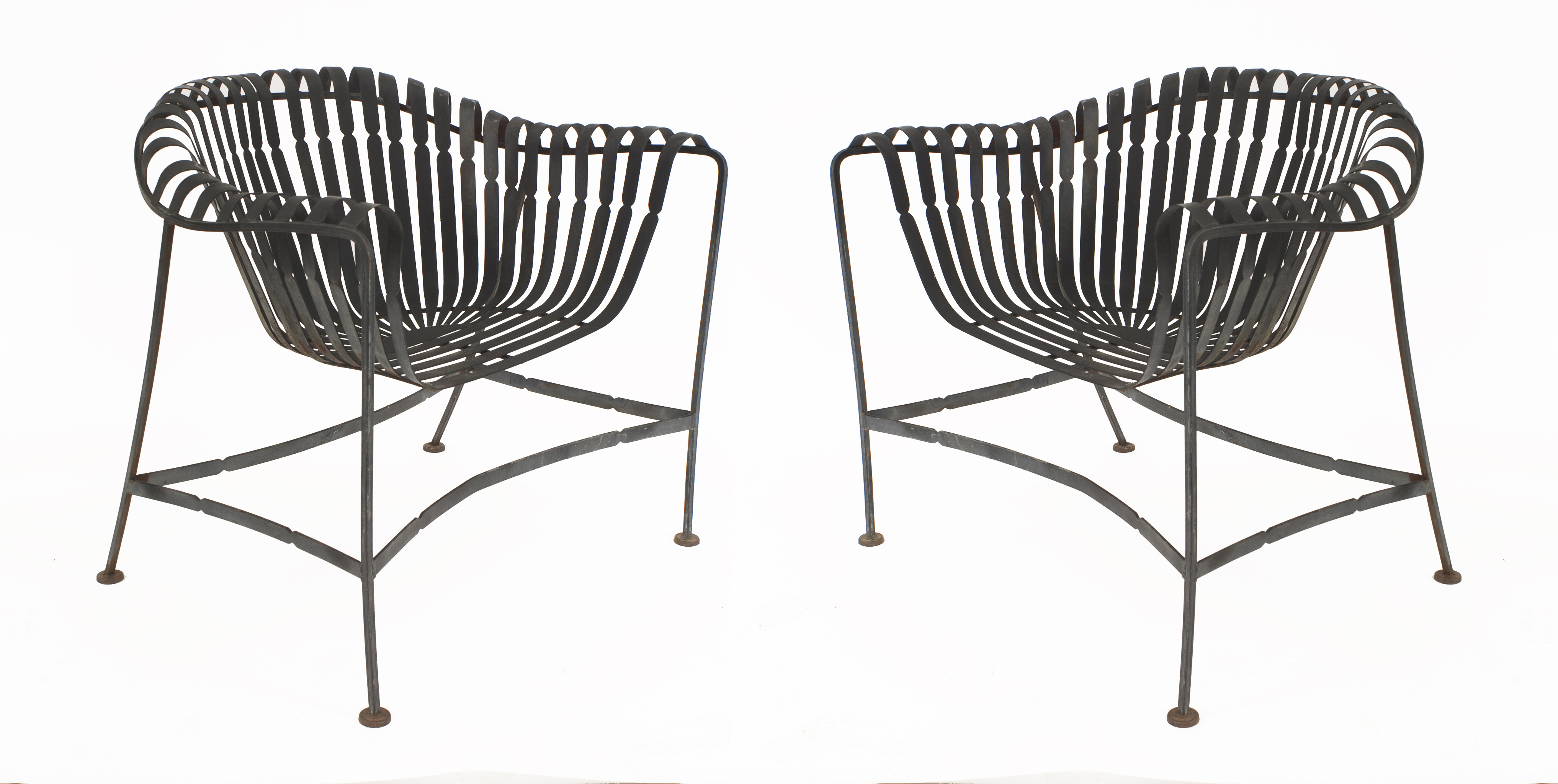 Amazing About Us Set 4 American Mid Century 1960S Black Enameled Iron Outdoor Arm Chairs With A Scoop Seat Bent Slat Design By Russell Woodard Matching Short Links Chair Design For Home Short Linksinfo