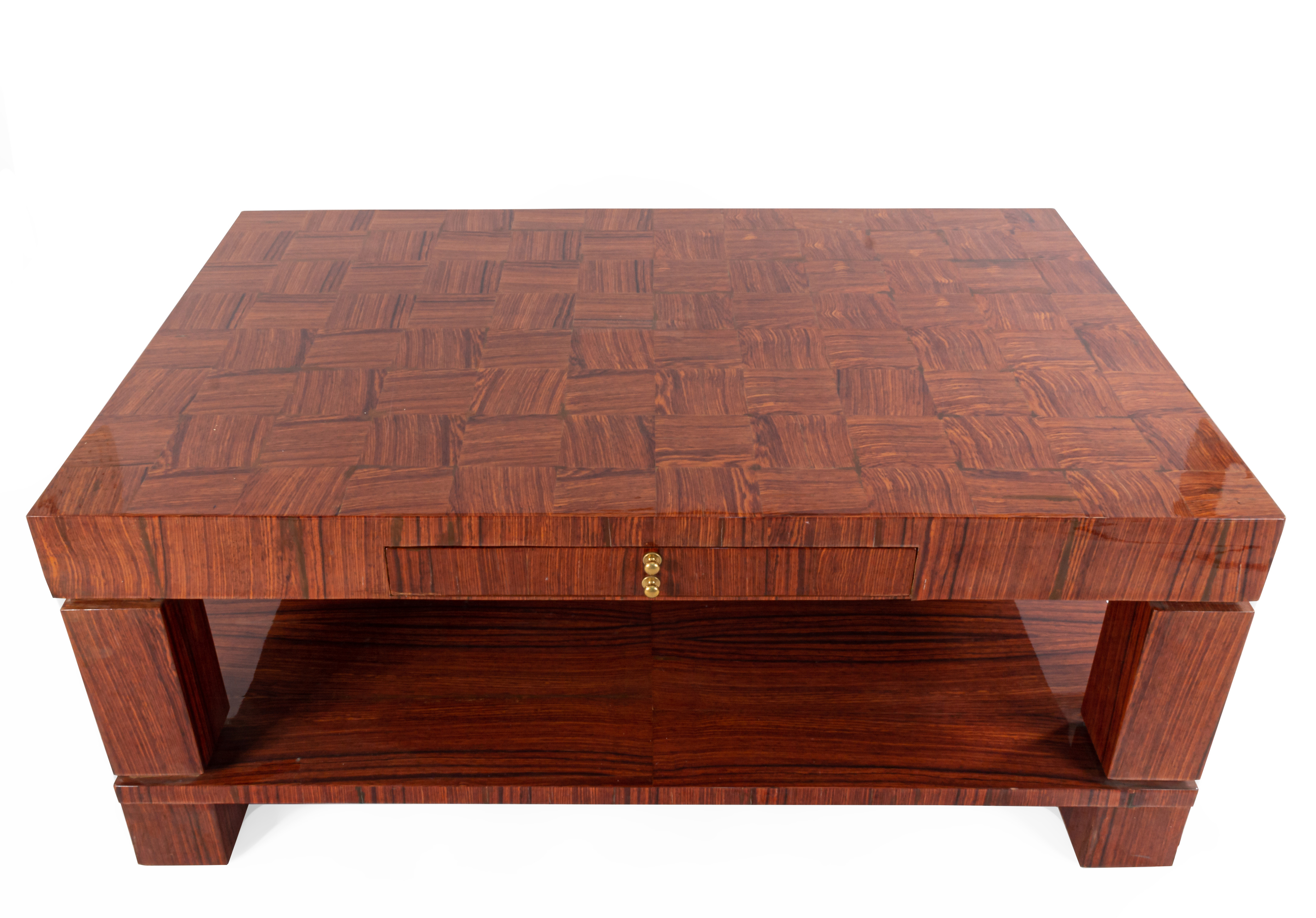 ... Rectangular Rosewood Coffee Table With Square Legs Supporting A Shelf  And A Checkerboard Design Top With 2 Side Drawers Having A Ring Handle  061210 ...