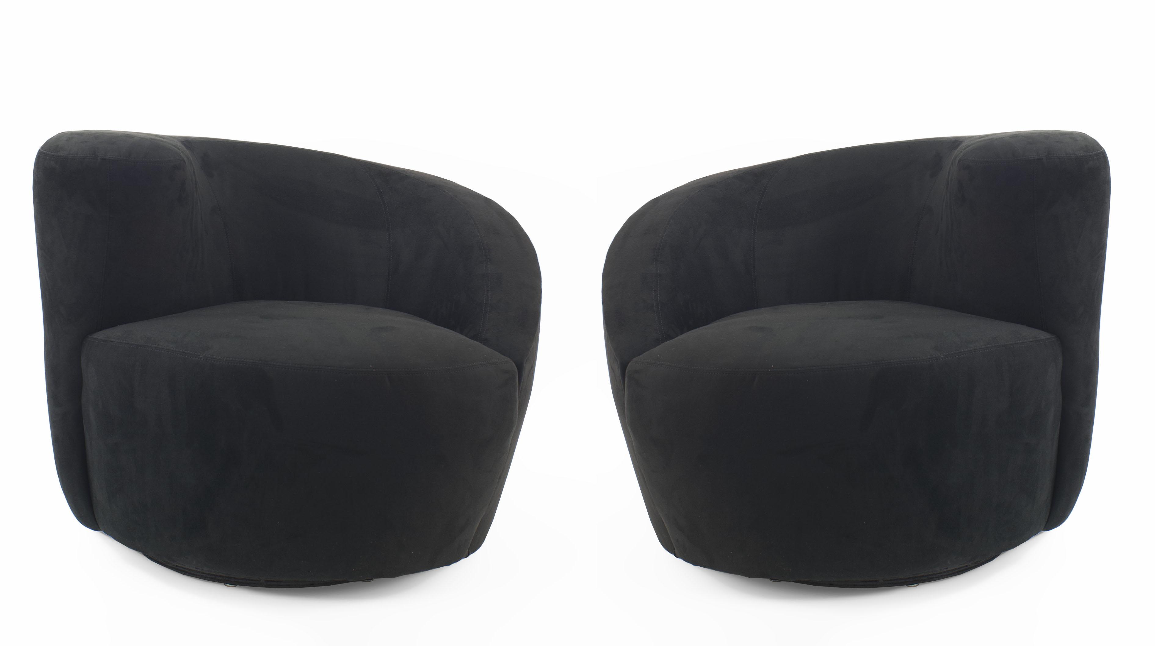 Outstanding Contemporary Black Black Suede Swivel Chair Newel Inzonedesignstudio Interior Chair Design Inzonedesignstudiocom