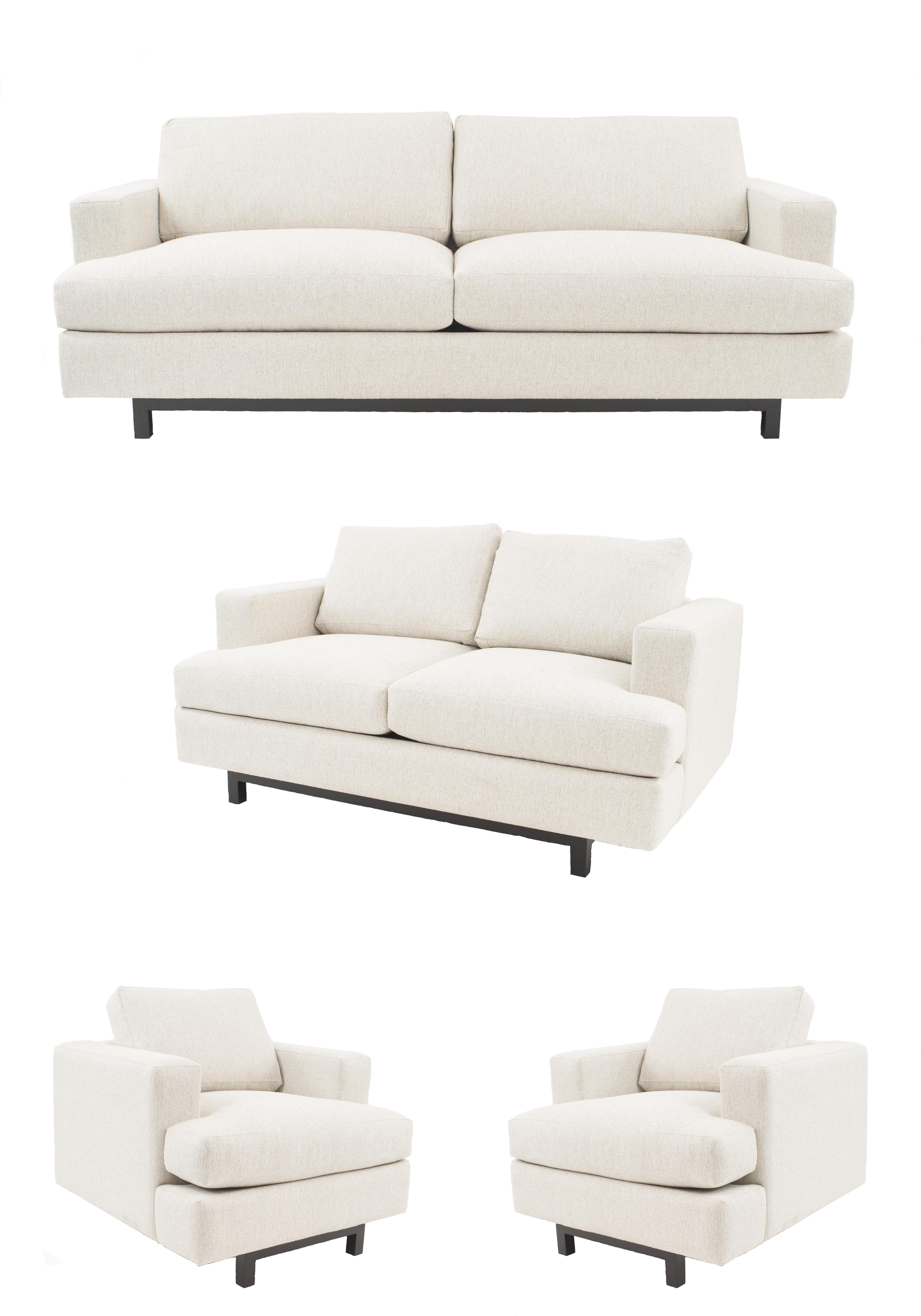 4-Piece Contemporary living room set with very light gray upholstery ...