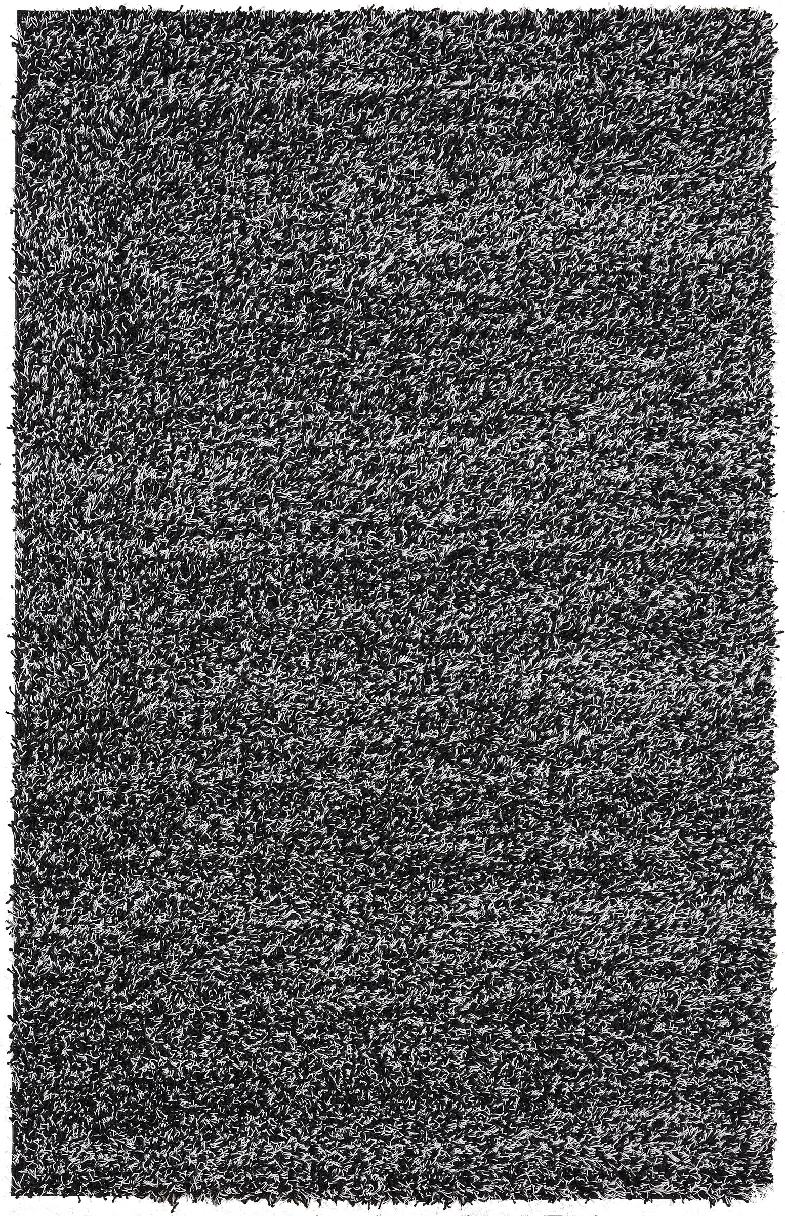 Contemporary Shag Area Rug With Mixed Black And White Threads 8 X10