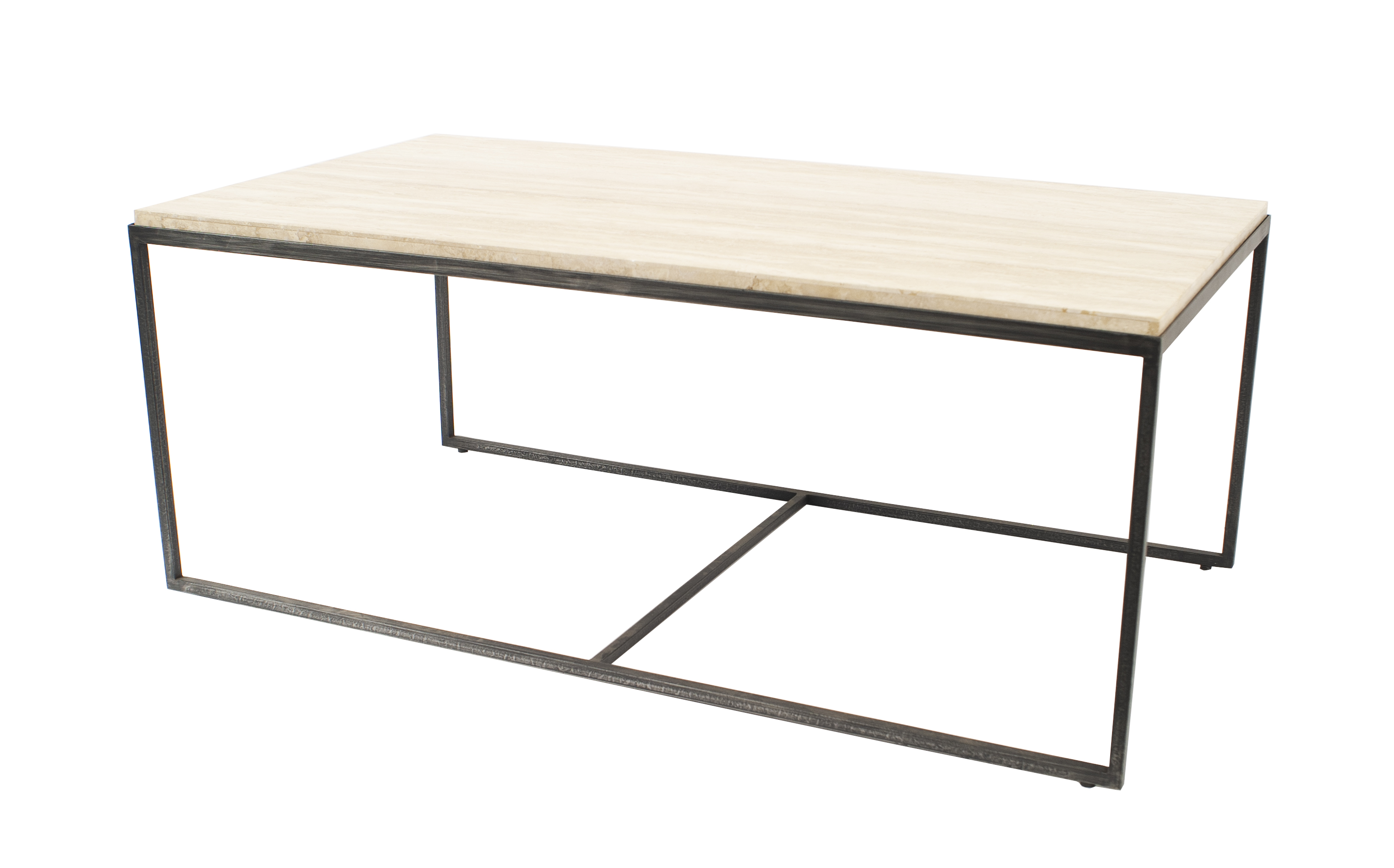Contemporary rectangular coffee table with a beige travertine top ...