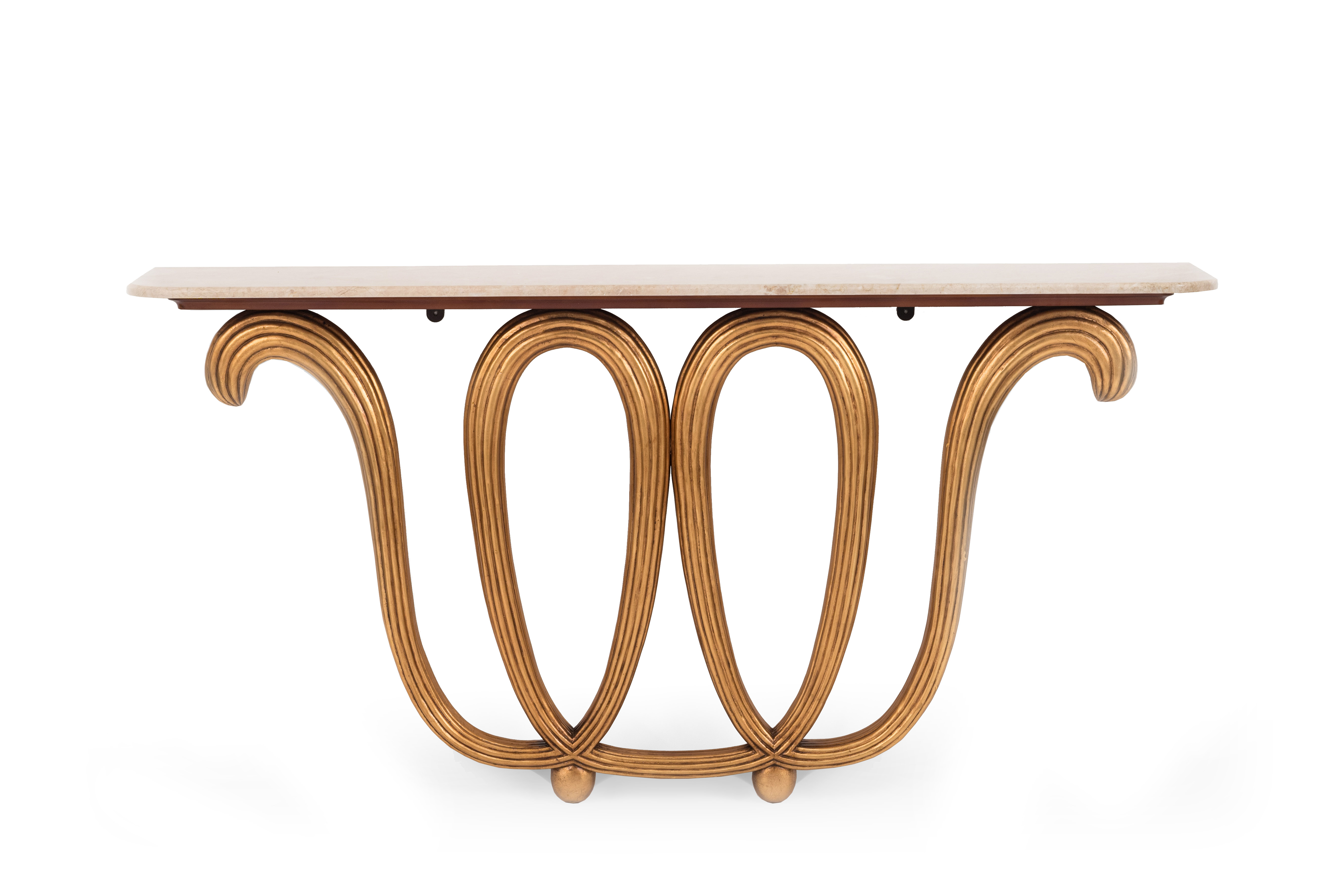 Contemporary Gilt Wood And Marble Console Table