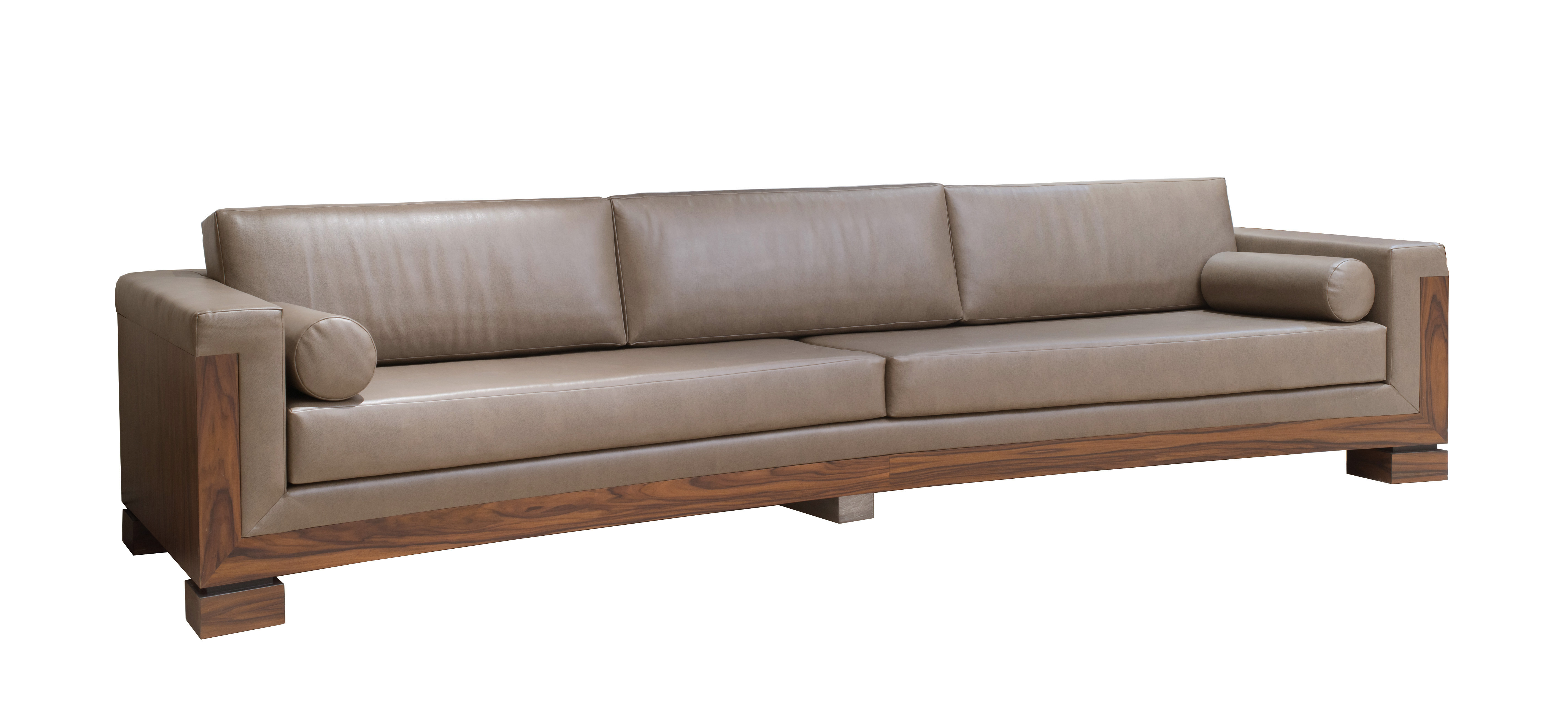 Contemporary extra long taupe leather sofa