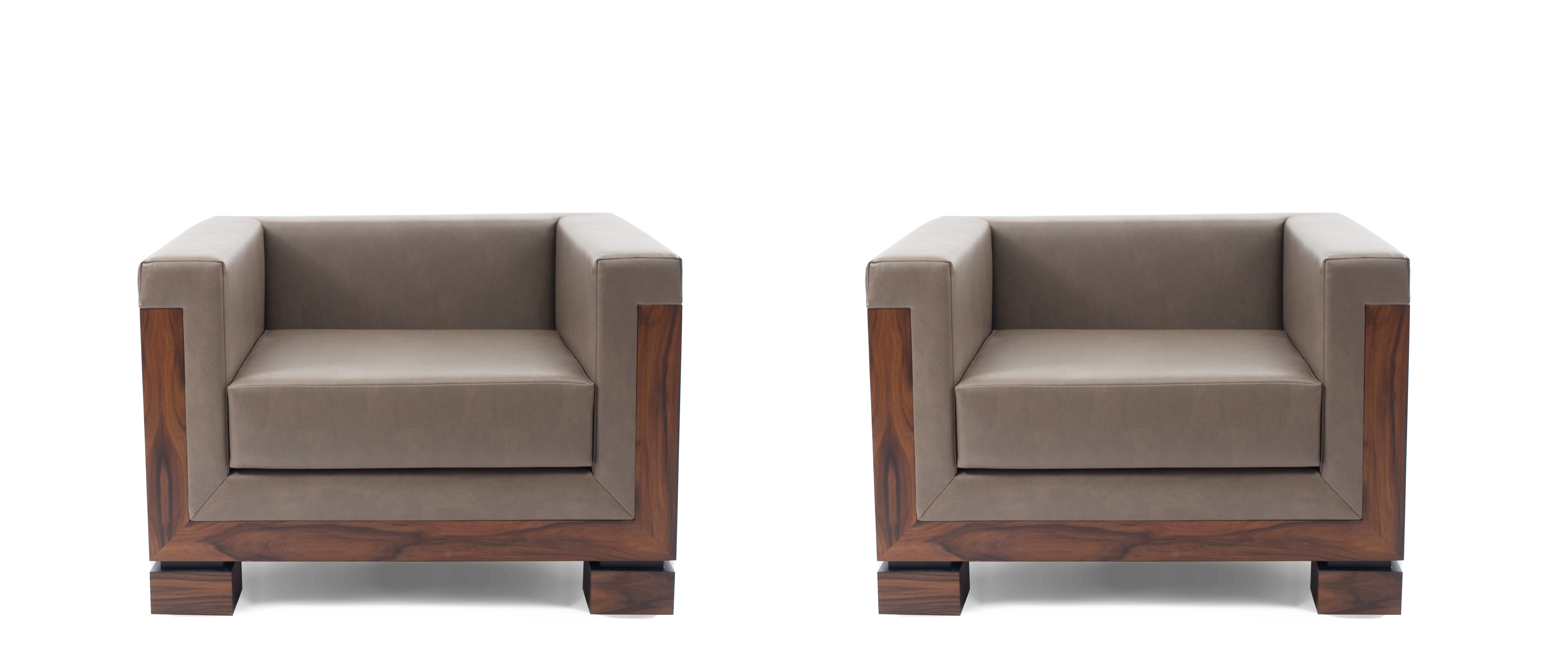Contemporary Taupe Leather Arm Chairs 13