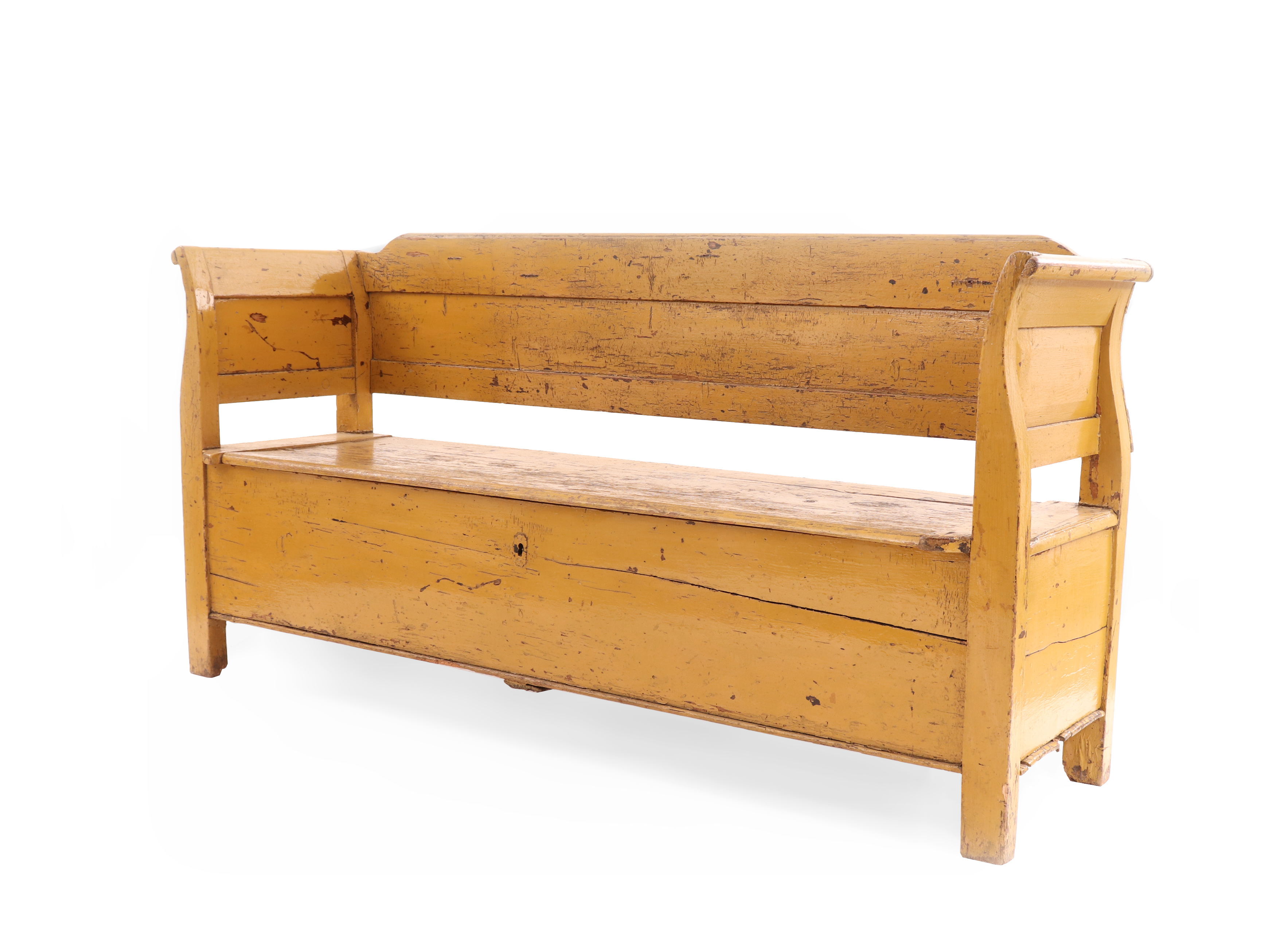 Picture of: Country Rustic Yellow Wooden Bench 1