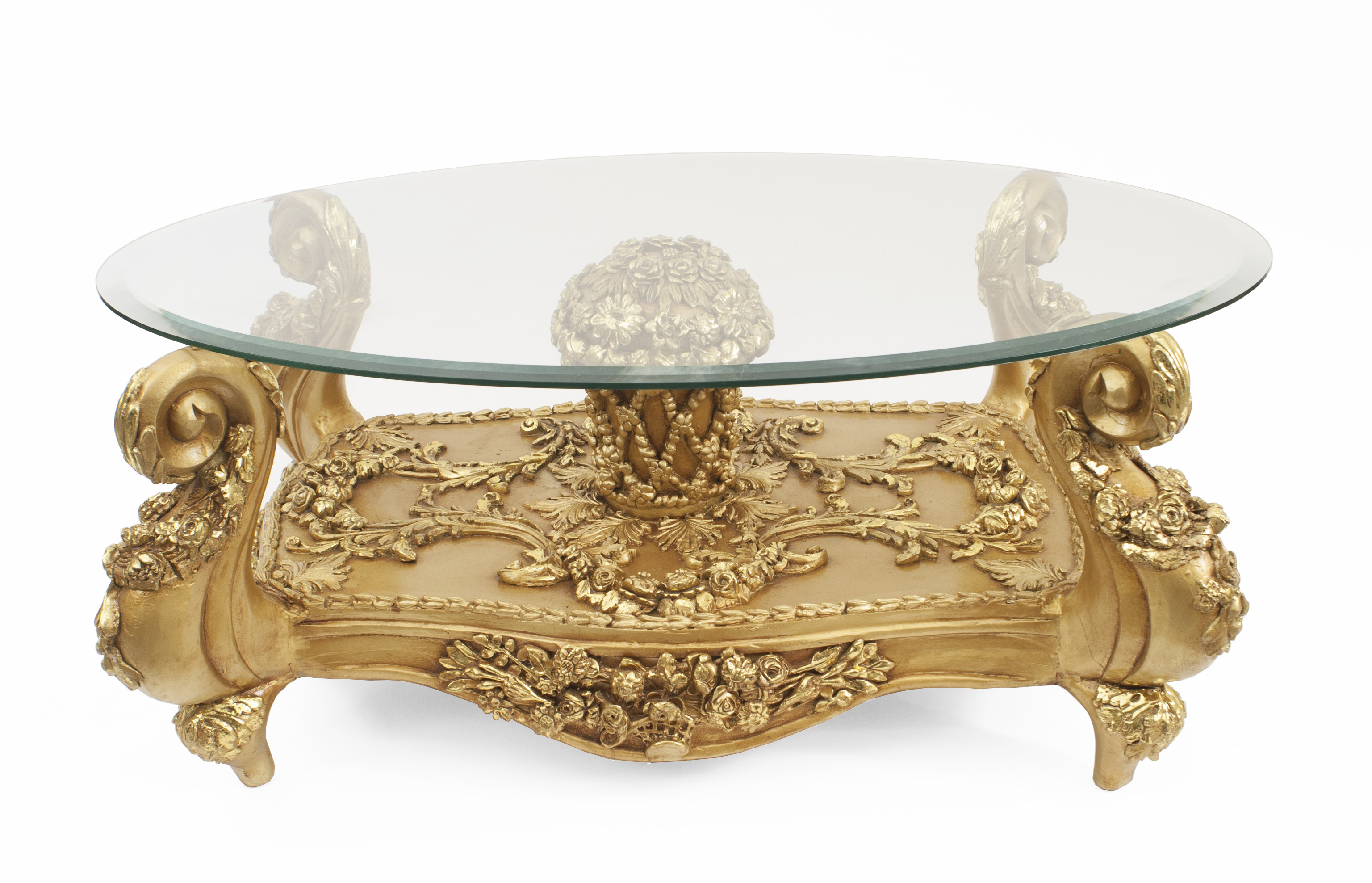Tremendous Italian Baroque Gilt Wood And Glass Coffee Table 1 Newel Interior Design Ideas Clesiryabchikinfo