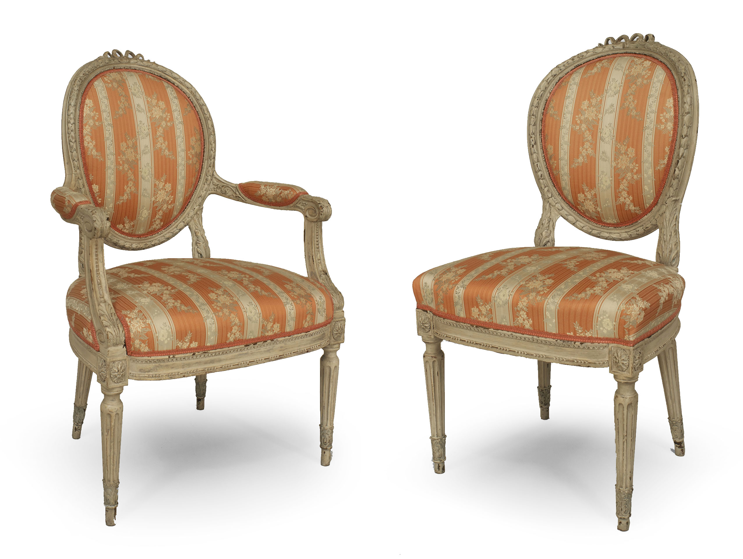 Picture of: French Louis Xvi Damask Dining Chairs