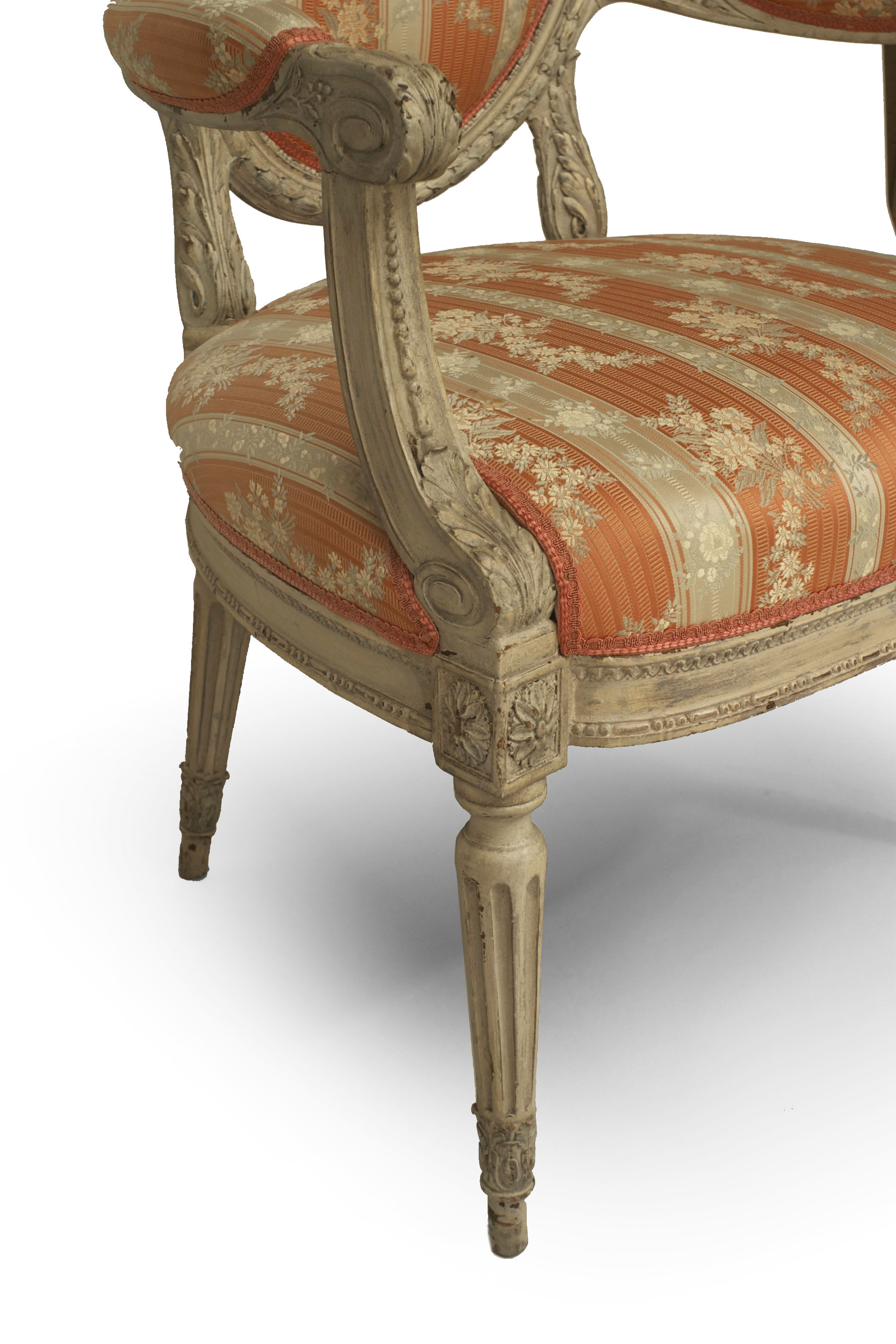French Louis Xvi Damask Dining Chairs
