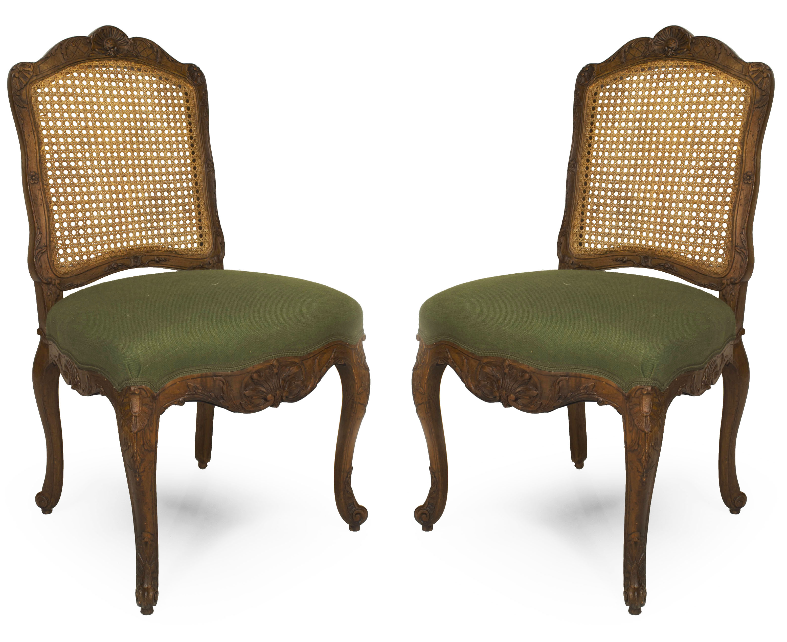 French Provincial Louis Xv Green Side Chairs 1