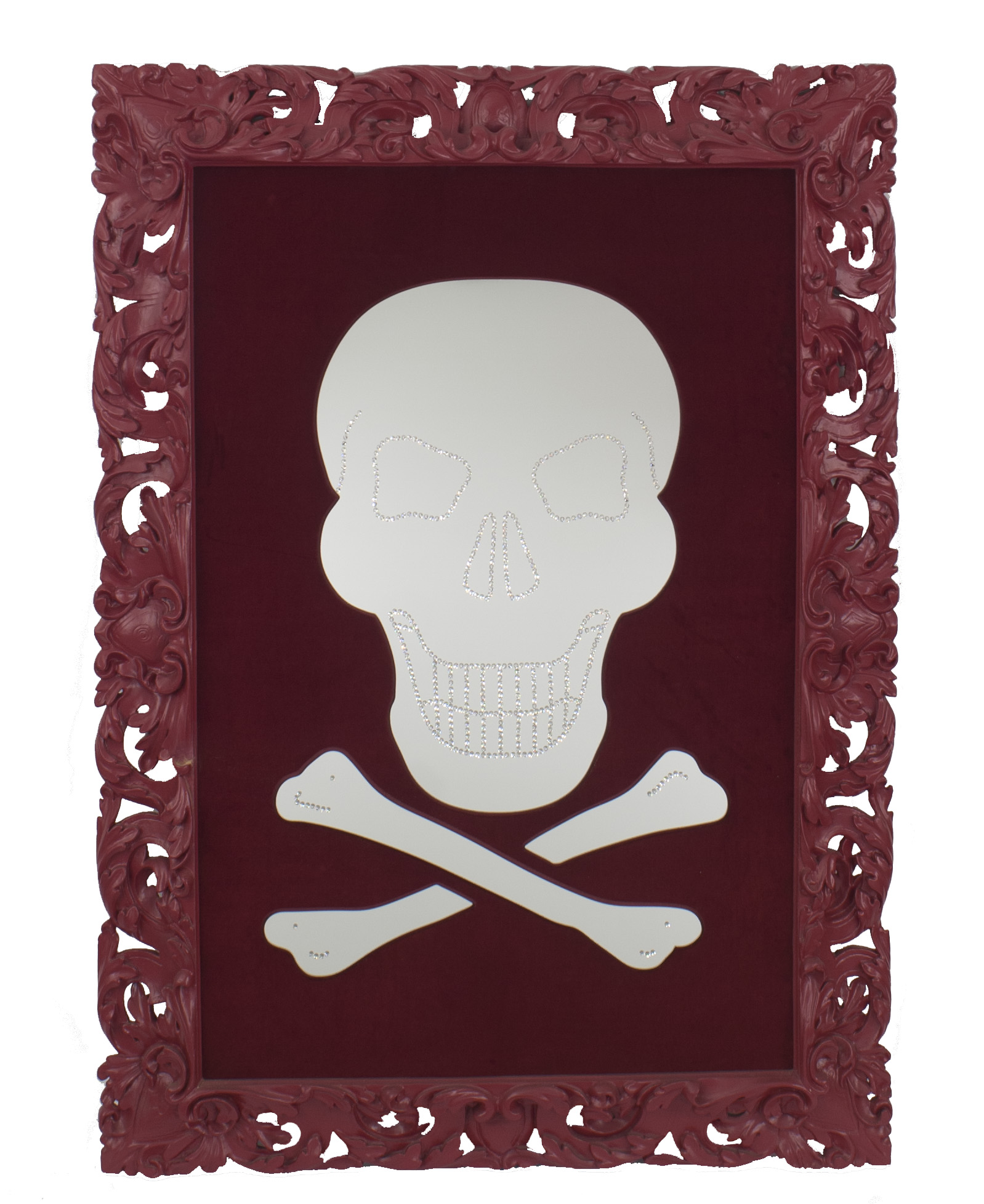 e51a945cf7d4 Contemporary (Swarovski crystals) wall mirror with skull   crossbone ...