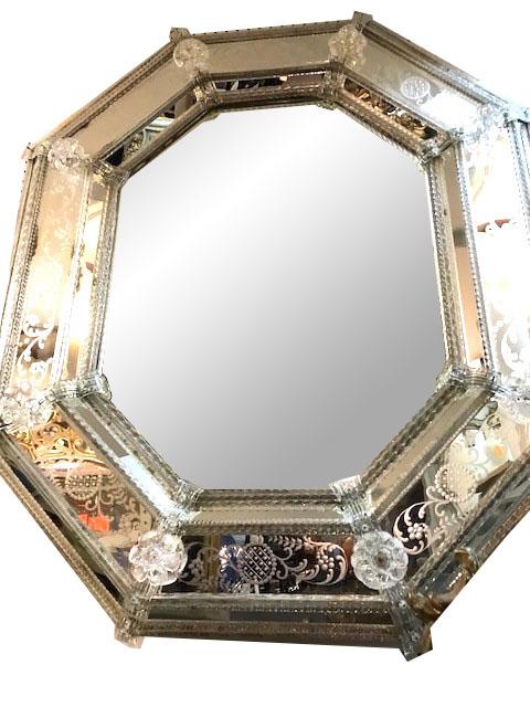 Italian Venetian Murano Octagonal Wall Mirror 1