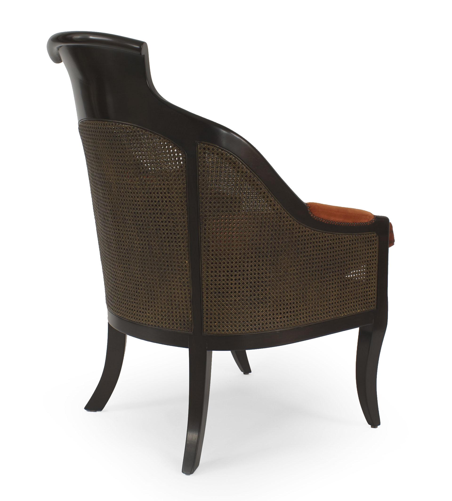 English Regency Rust Velvet Arm Chairs Newel