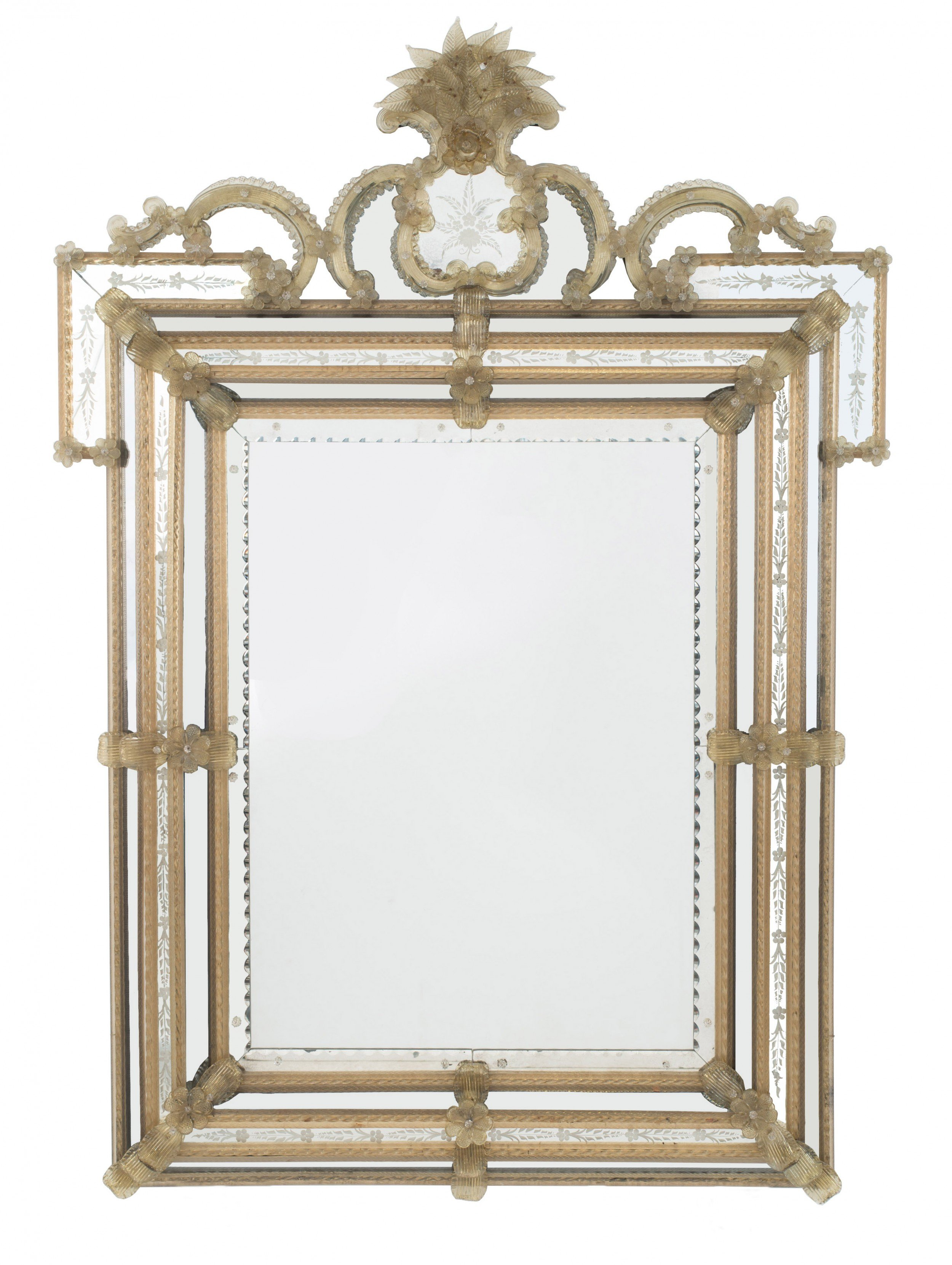 Italian Venetian Style Etched Paneled Wall Mirror 1