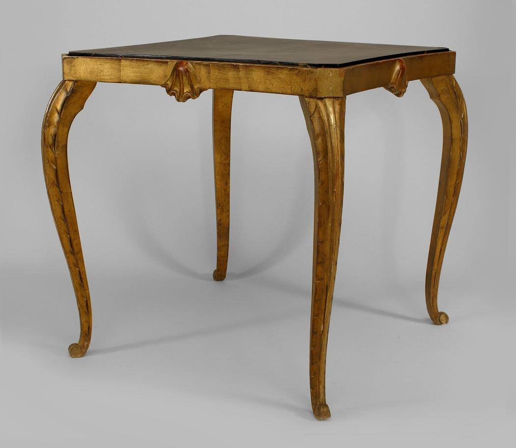 ... Louis XV Style (1940s) Gilt Wood Square Game Table With Carved Shell On  Apron And A Faux Marble Painted Inset Top (att: JANSEN) DLB120 French  U003e  Louis ...