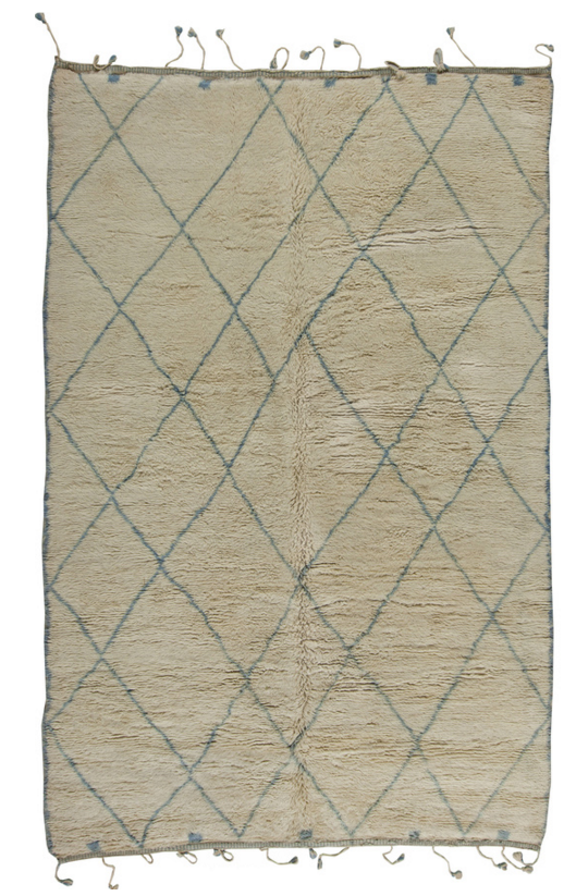Moroccan Patterned Beige And Green Area Rug 1