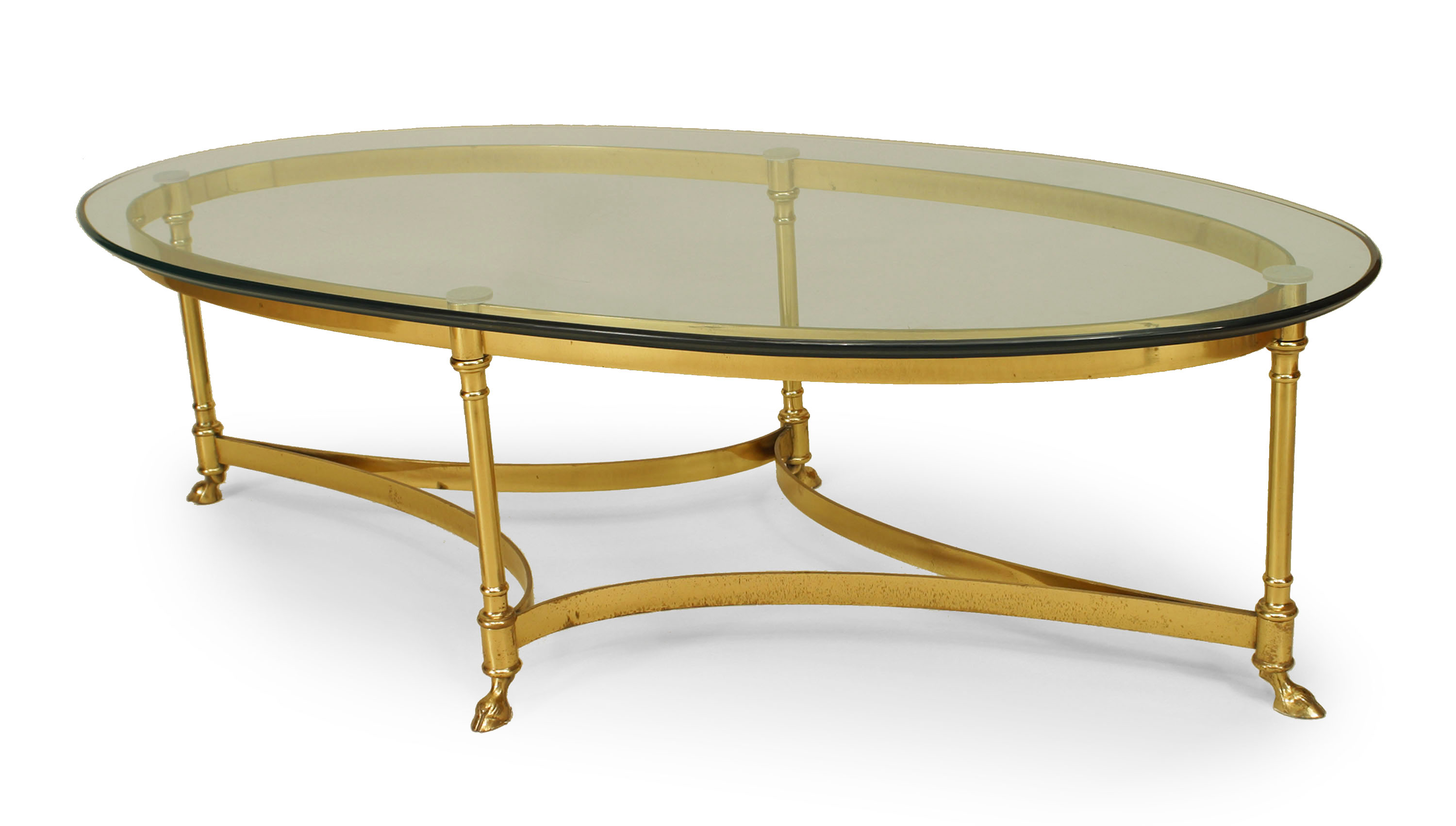 French Post War Brass And Glass Coffee Table