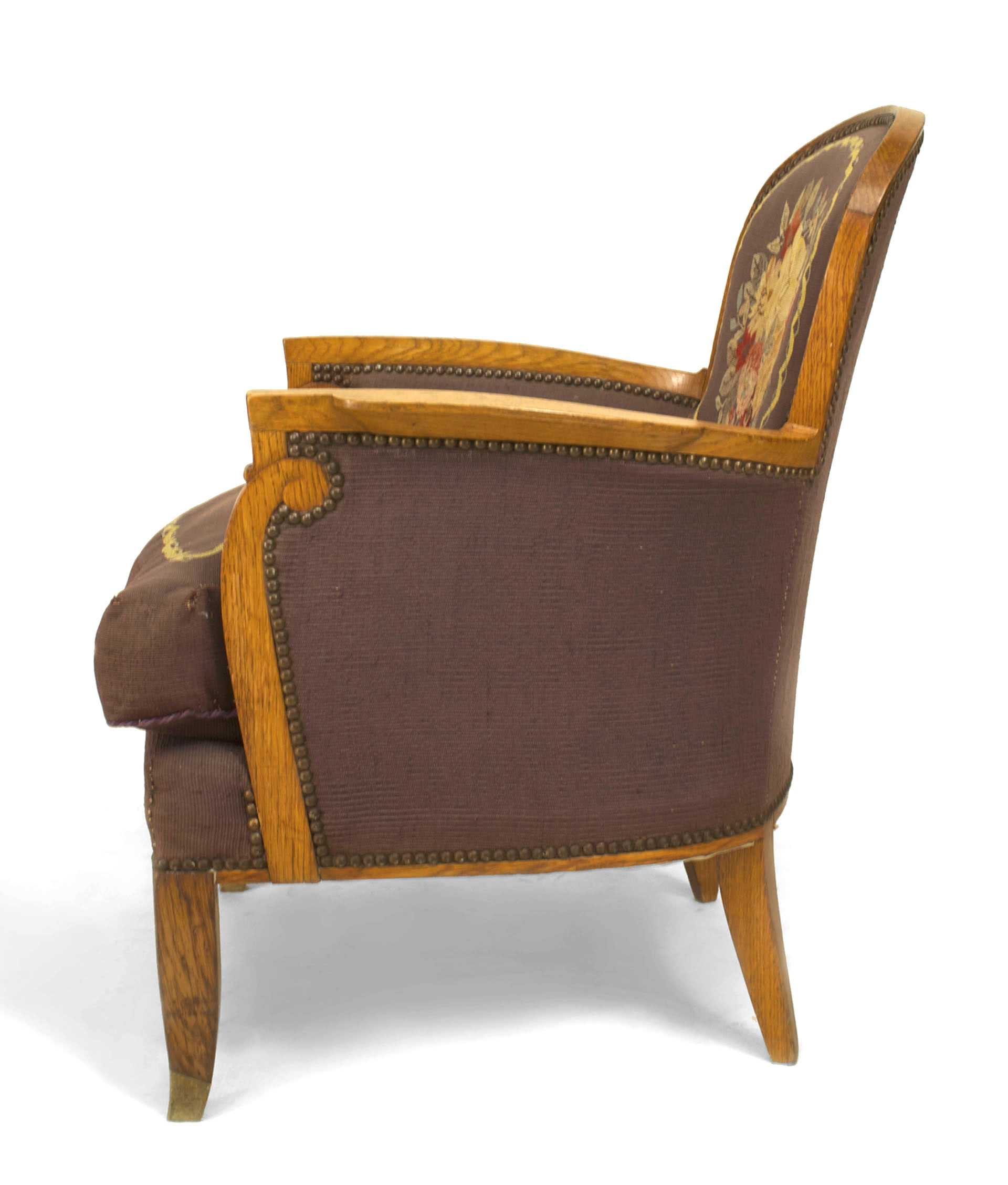 ... Art Deco Arm Chairs (bergeres) With Tapestry Upholstery Having A Round  Back U0026 Scroll Design Arm (by JULES LELEU) (c.1940) Ref: Decorateurs  Ensemble, ...