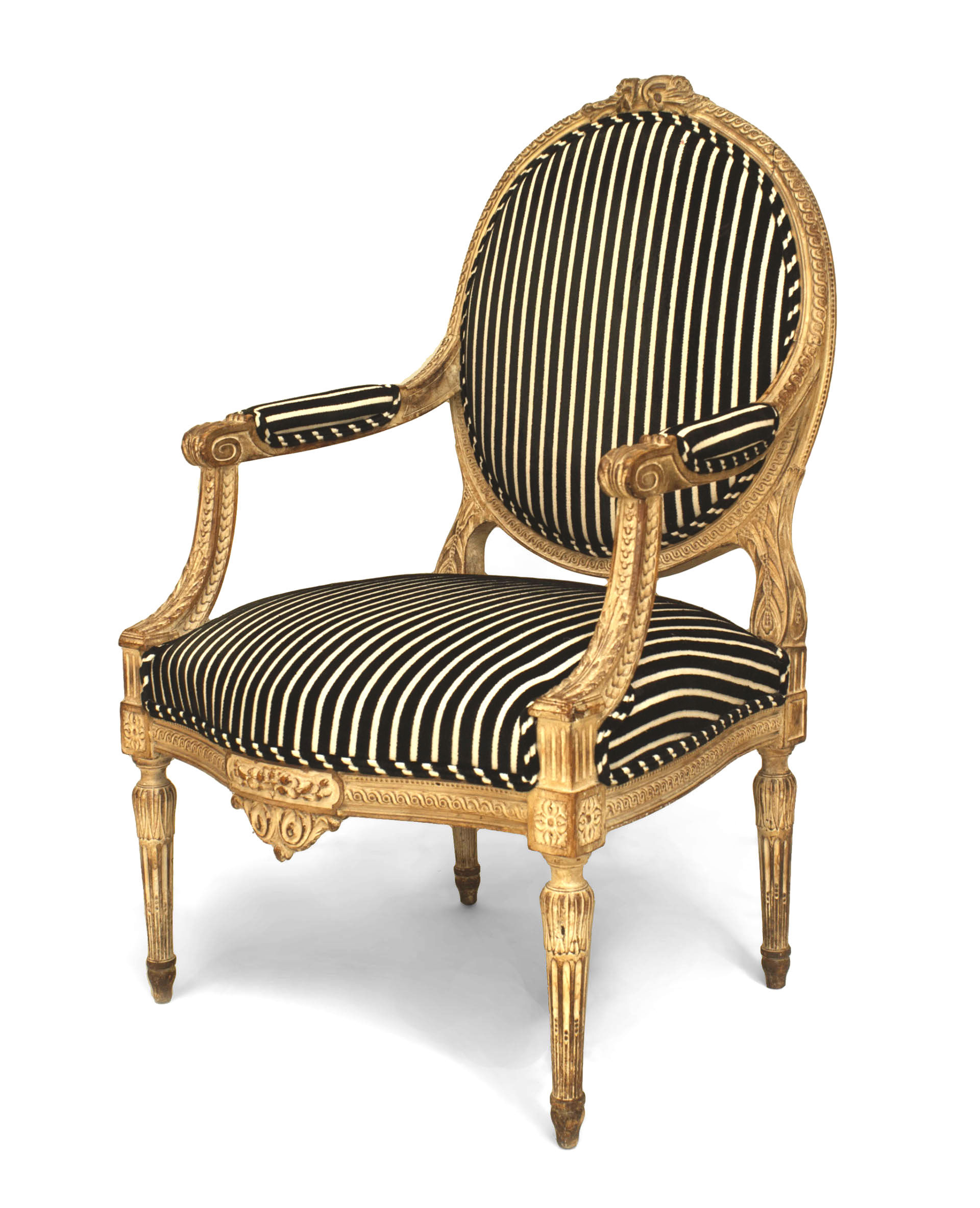 Marvelous French Louis Xvi Striped Arm Chair Newel Caraccident5 Cool Chair Designs And Ideas Caraccident5Info