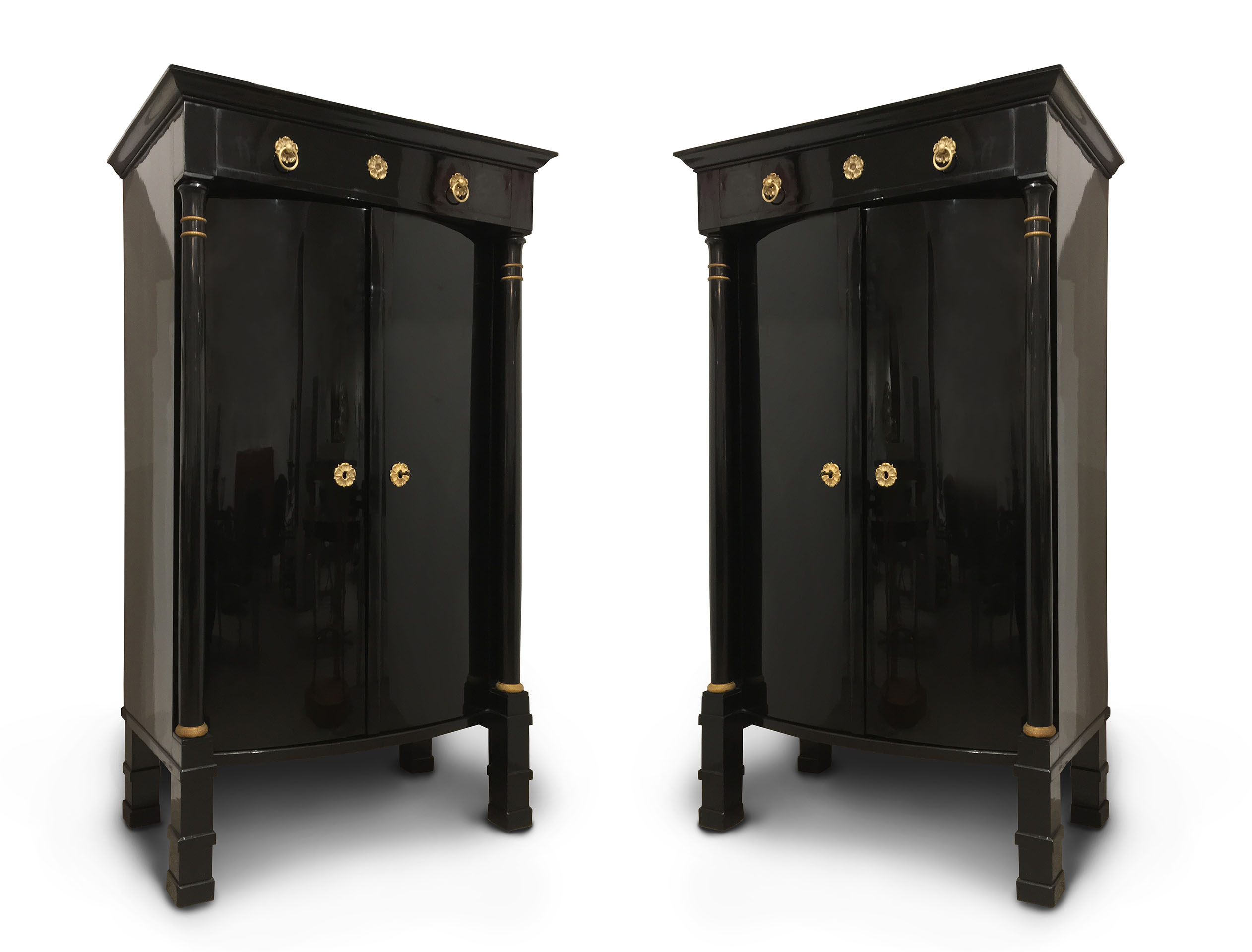 ... Biedermeier Ebonized 2 Door Armoire Cabinets With A Faux Drawer Over A  Bowed Front And Bronze Mounted Column Legs (circa 1820) GRL4982 Biedermeier  ...