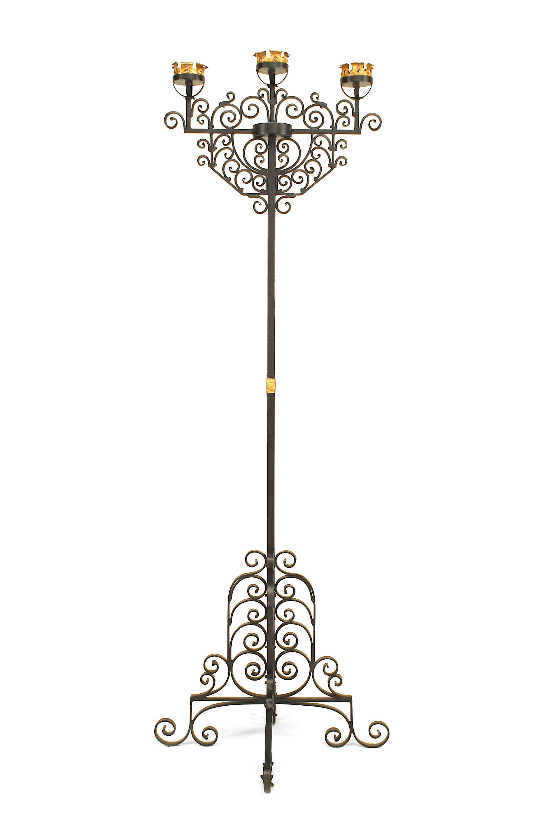 Italian Renaissance Style Wrought Iron Floor Torchiere