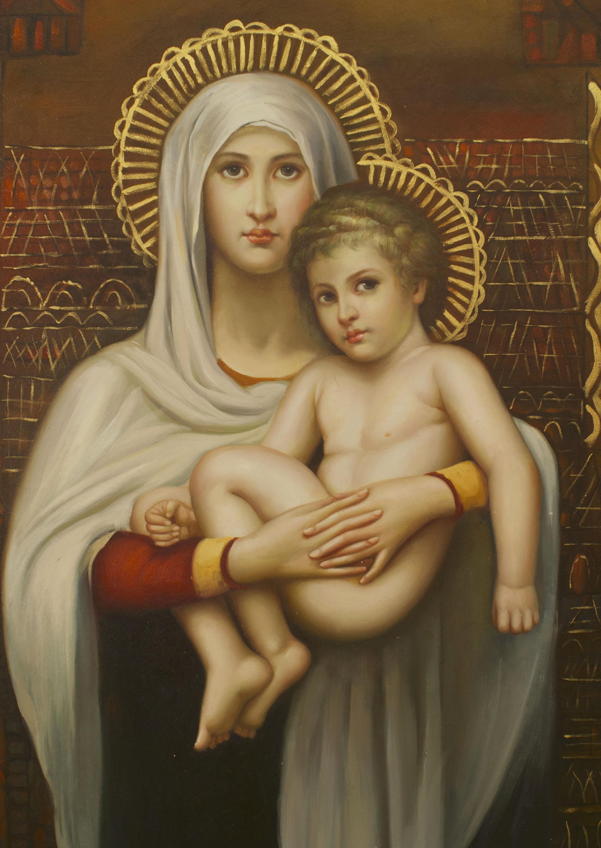 Italian Renaissance Madonna Child Painting Newel