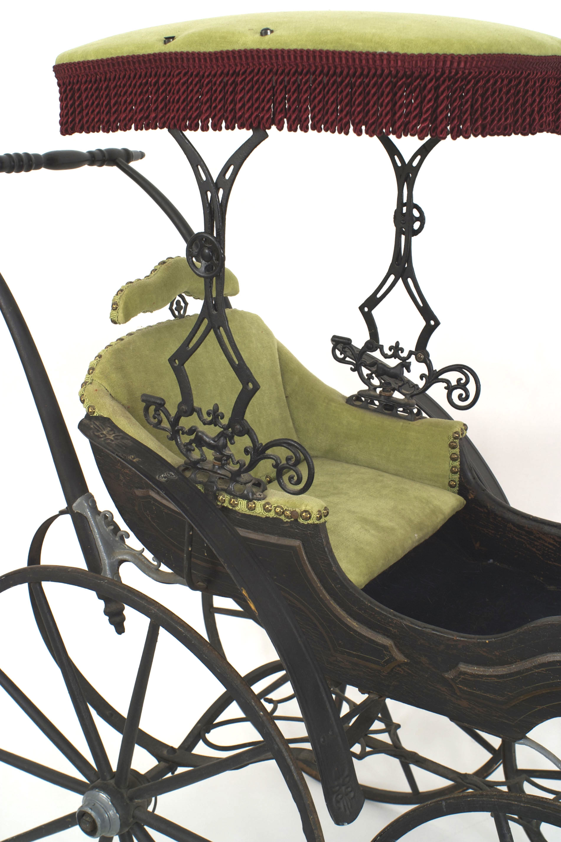 American Victorian Velvet Baby Carriage