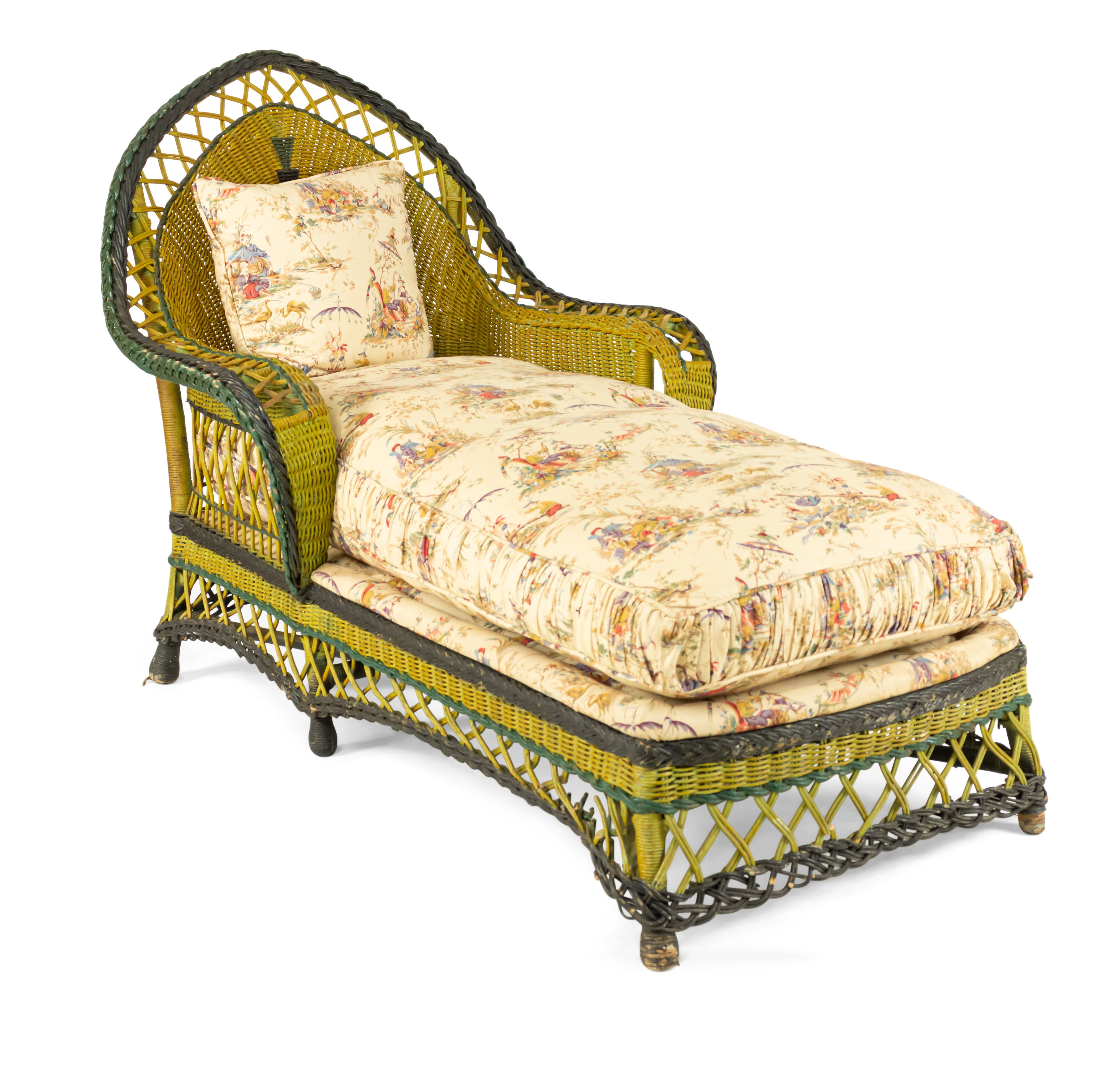 american art deco wicker recamier painted green and yellow with an arch form back - Chaise Deco