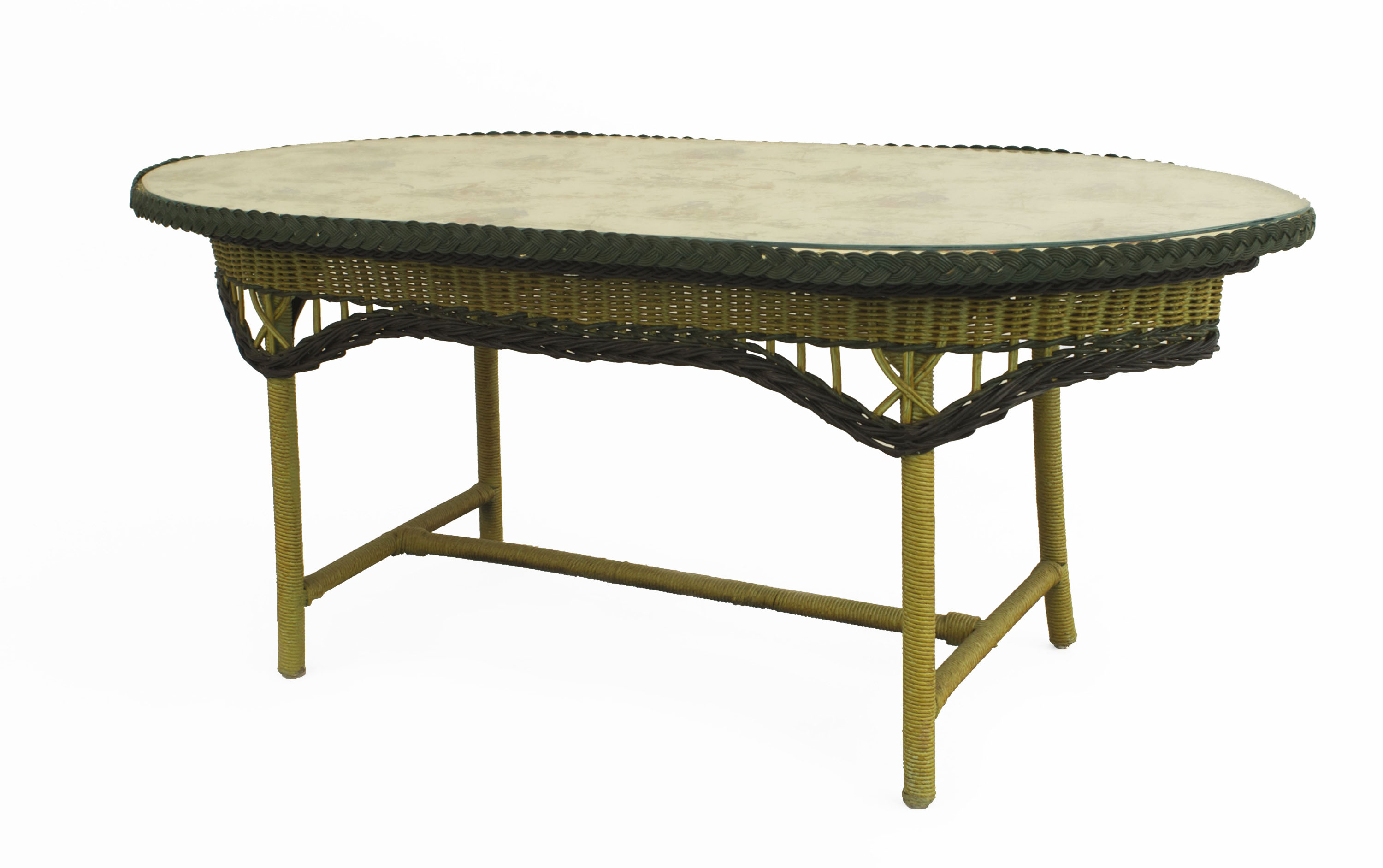 American Art Deco wicker coffee table painted green and yellow with ...